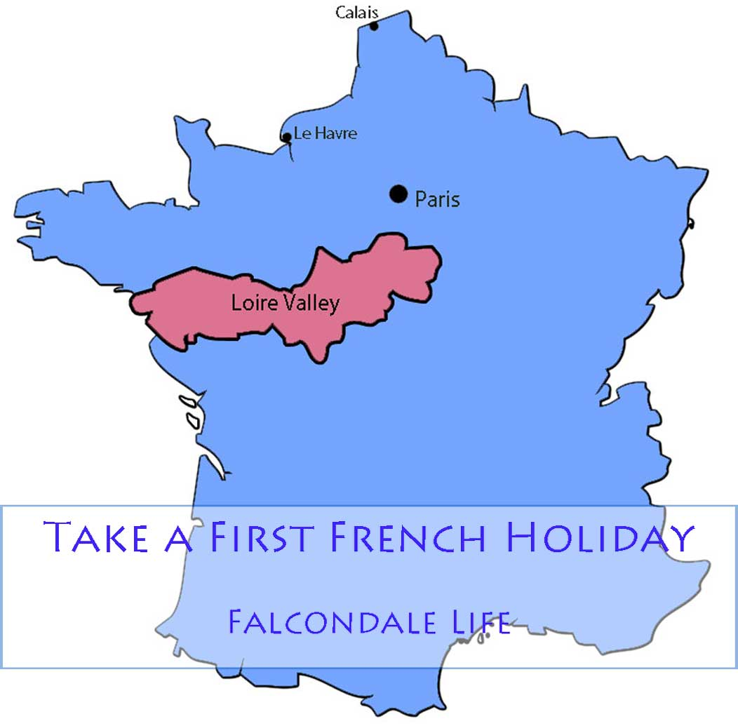 Outline map of France showing the Loire Valley region