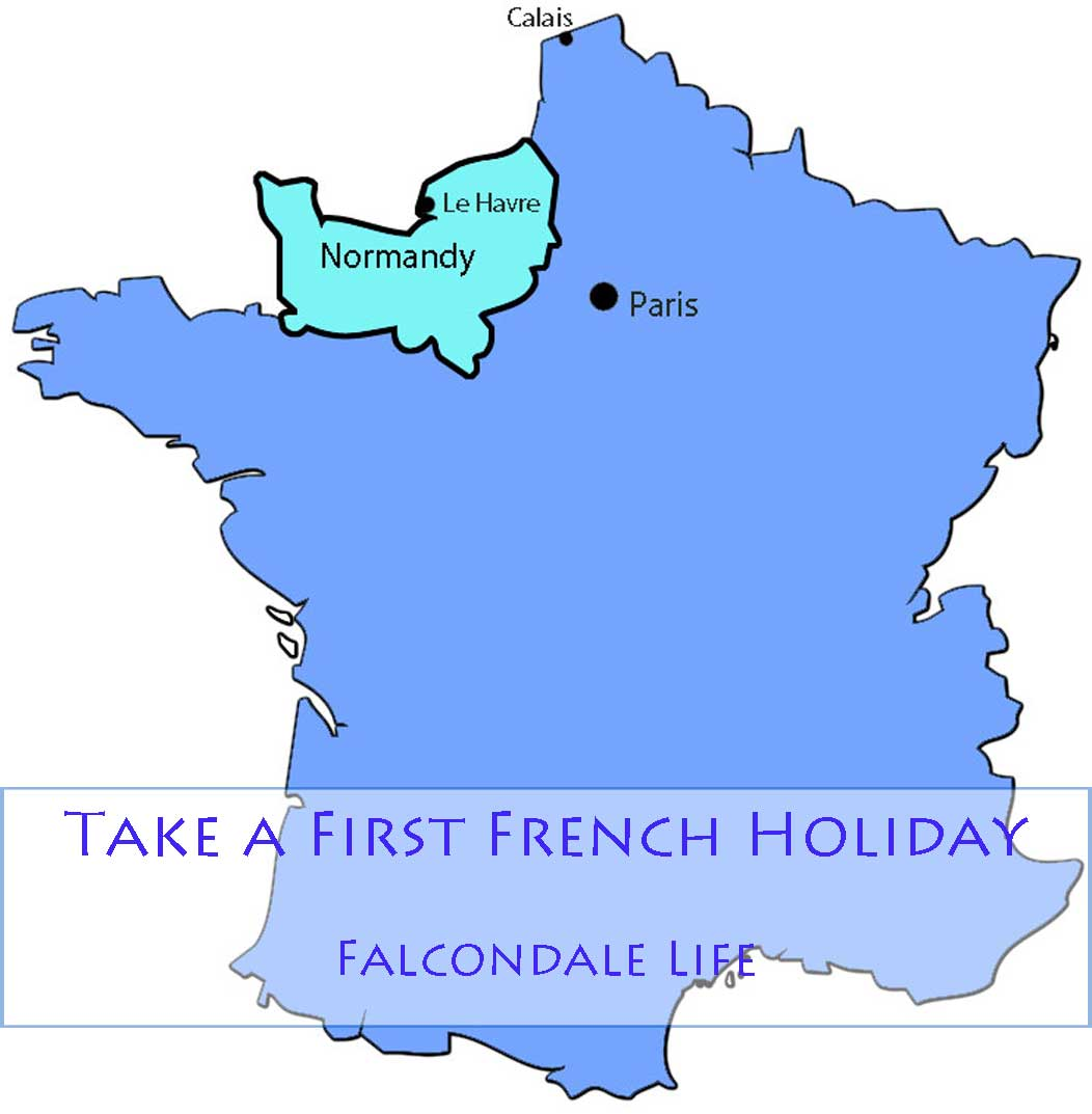 Outline map of France showing Normandy