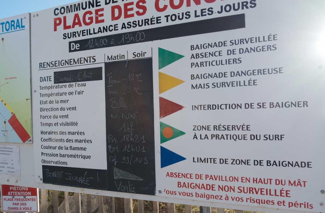 French beach rules lifeguard flags, beach monitoring station report