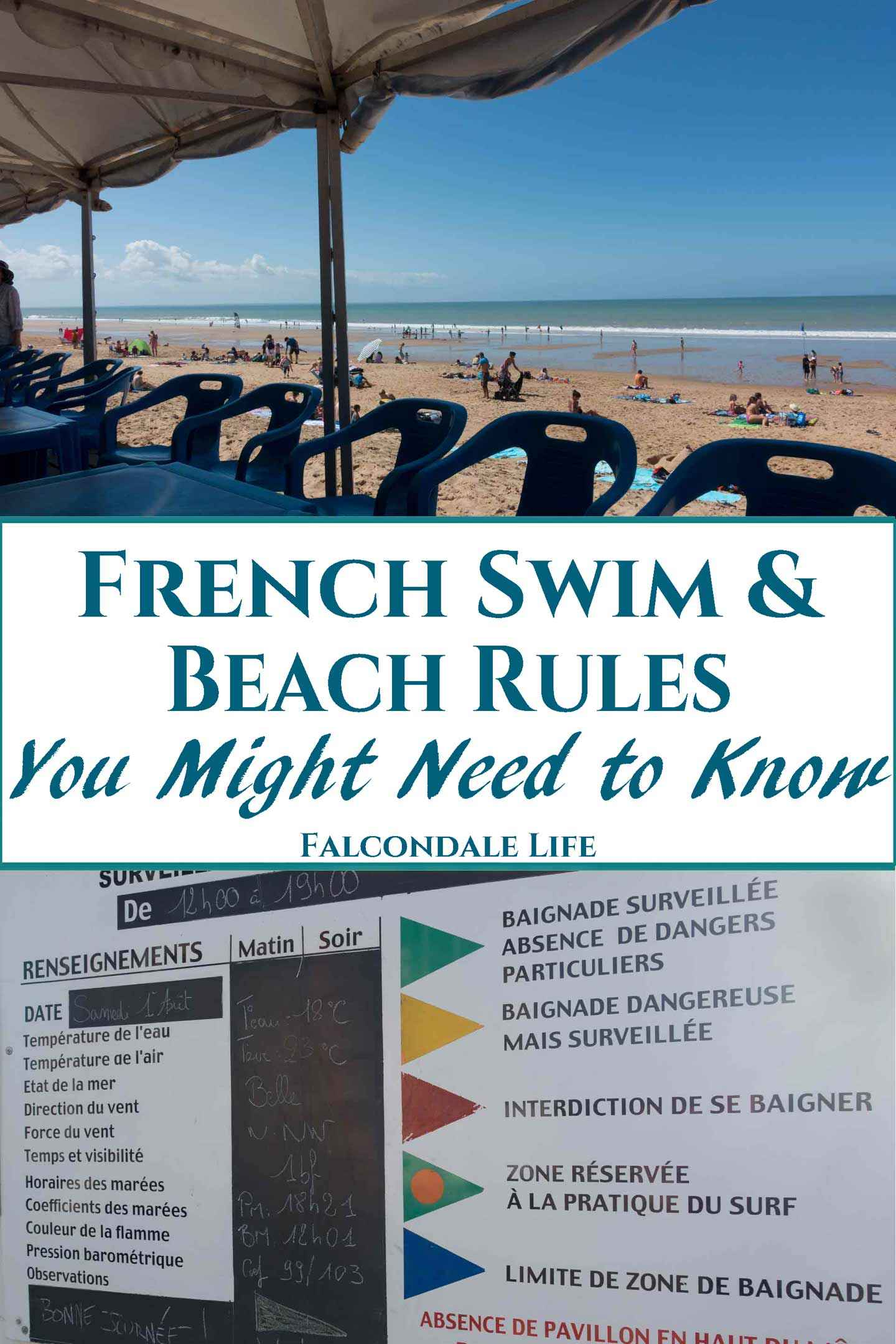 Do men have to wear speedos to swim in France? Can we light a barbecue on the beach or walk a dog? Find out - French Swim and Beach Rules - what you might need to know on Falcondale Life blog. Some rules may surprise you but in France there is a good lifeguard service. Laws are set both nationally and locally. At swimming pools there are commonly some rules about swimwear and suncream. Image description: Beach with display board showing rules in French.