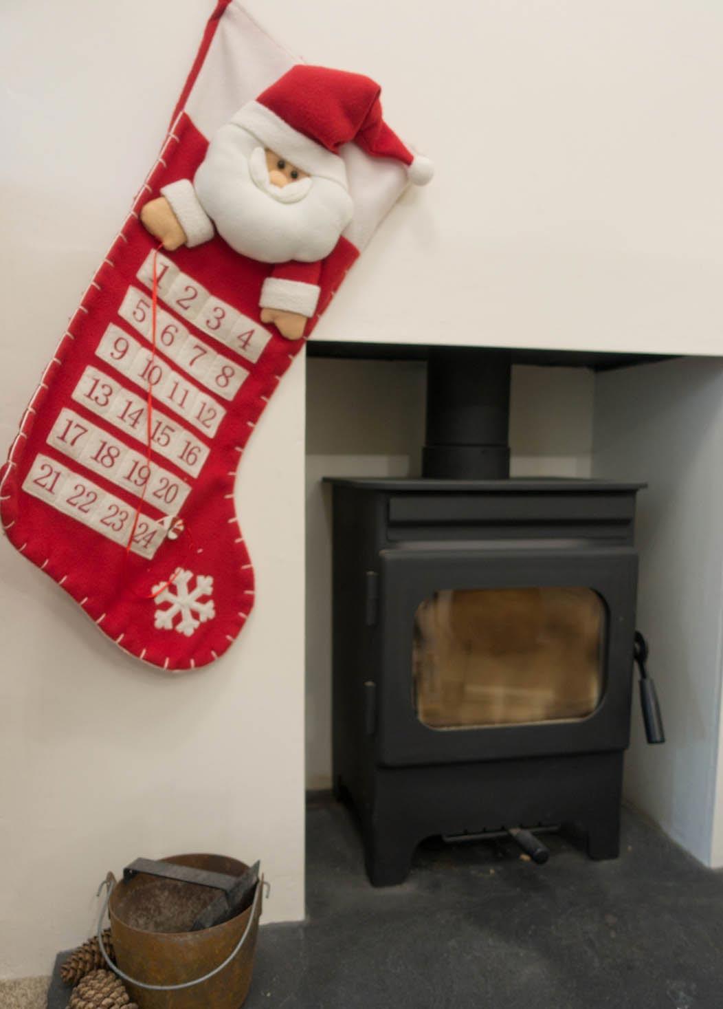 Advent calendar stocking and fireplace on Falcondalelife.com blog