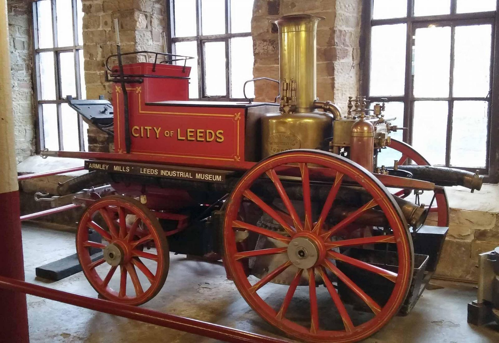 Discovering Leeds Industrial Museum with kids on Falcondale Life blog. A red traction engine