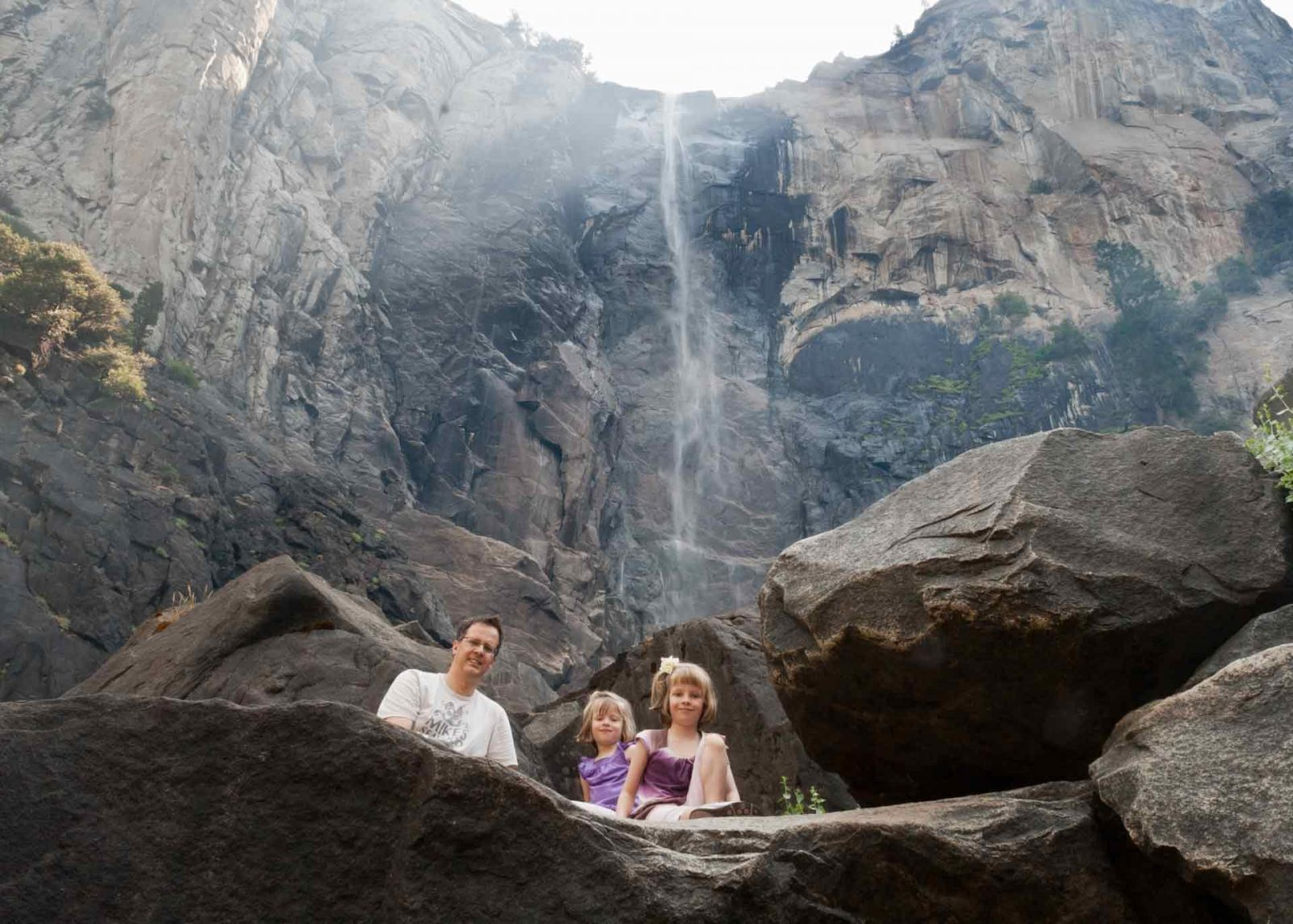 A Family Trip to Yosemite with Forest Fires and Photography on Falcondale Life Blog. Smoke from Big Meadow Fire 2009 and waterfall