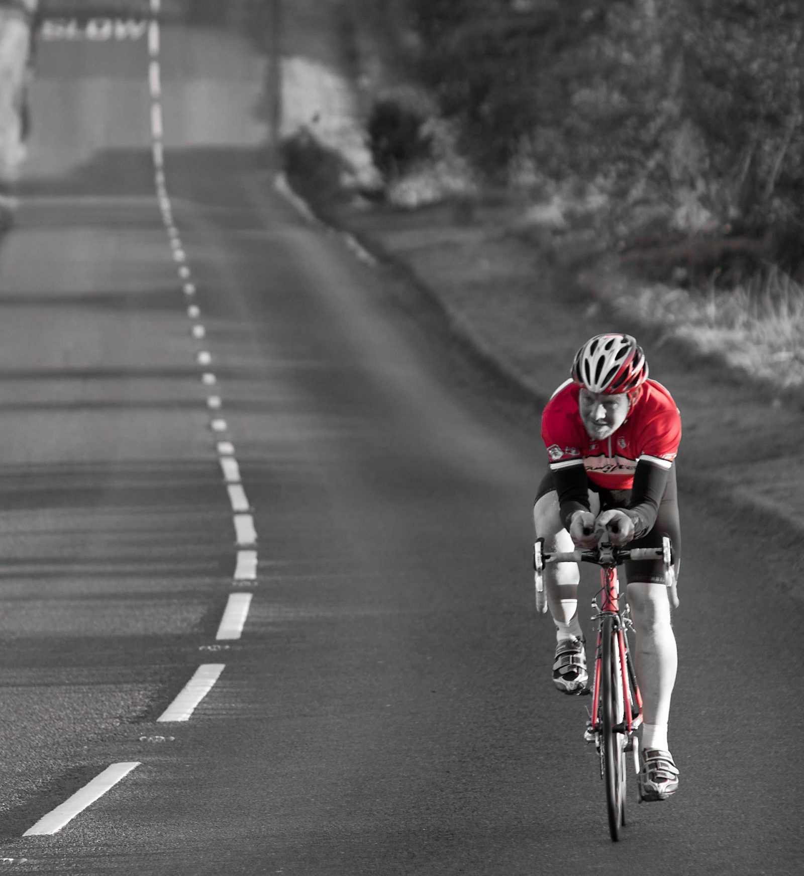 Using spot colour without being heavy handed Photography tips on Falcondale Life blog Cycle Race