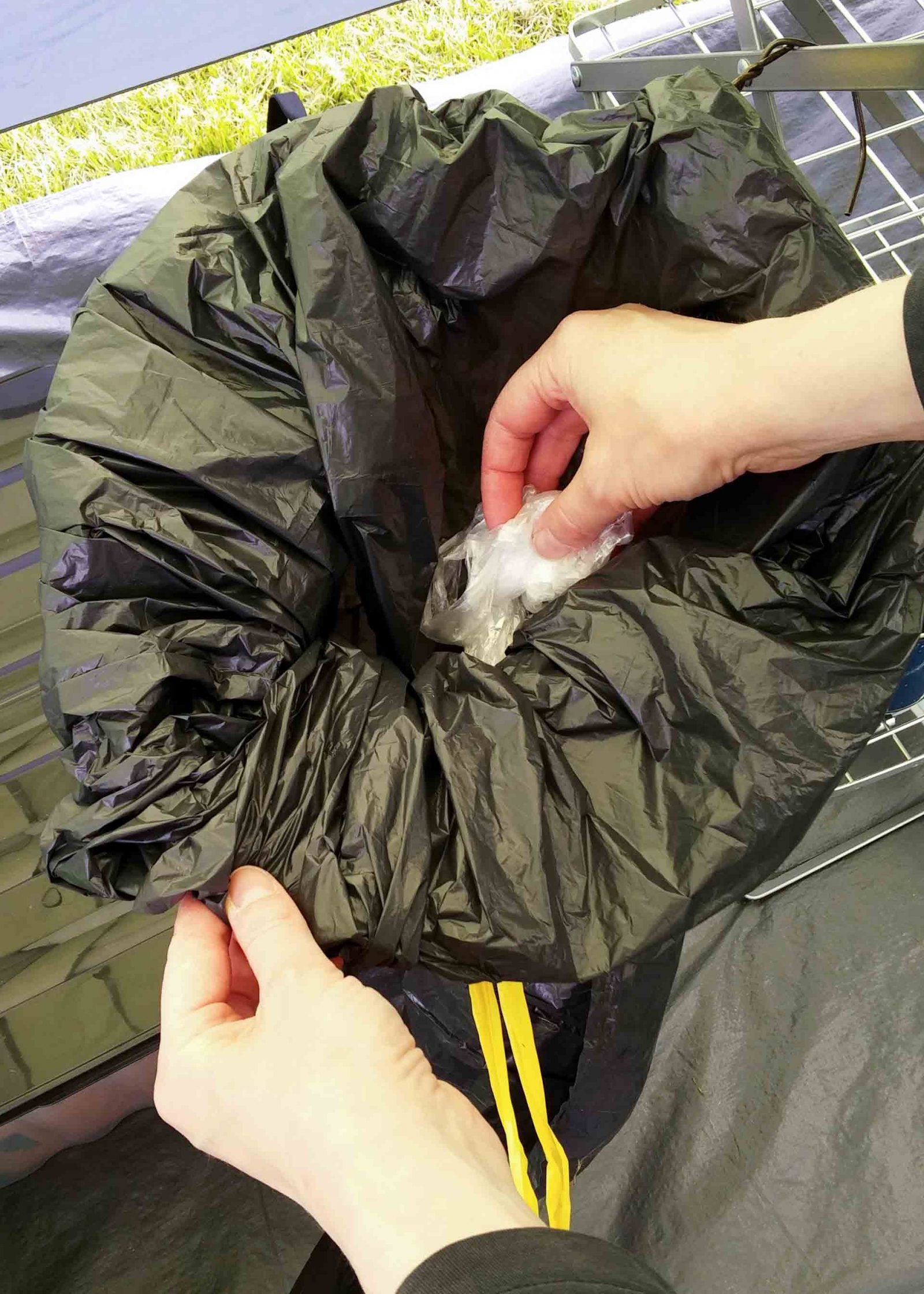 Make this simple folding waste bin for your camp kitchen. When you're camping you need an easy compact way to deal with trash. Throw away your rubbish and keep out the wasps. Easy and and compact camping idea on Falcondale Life blog.