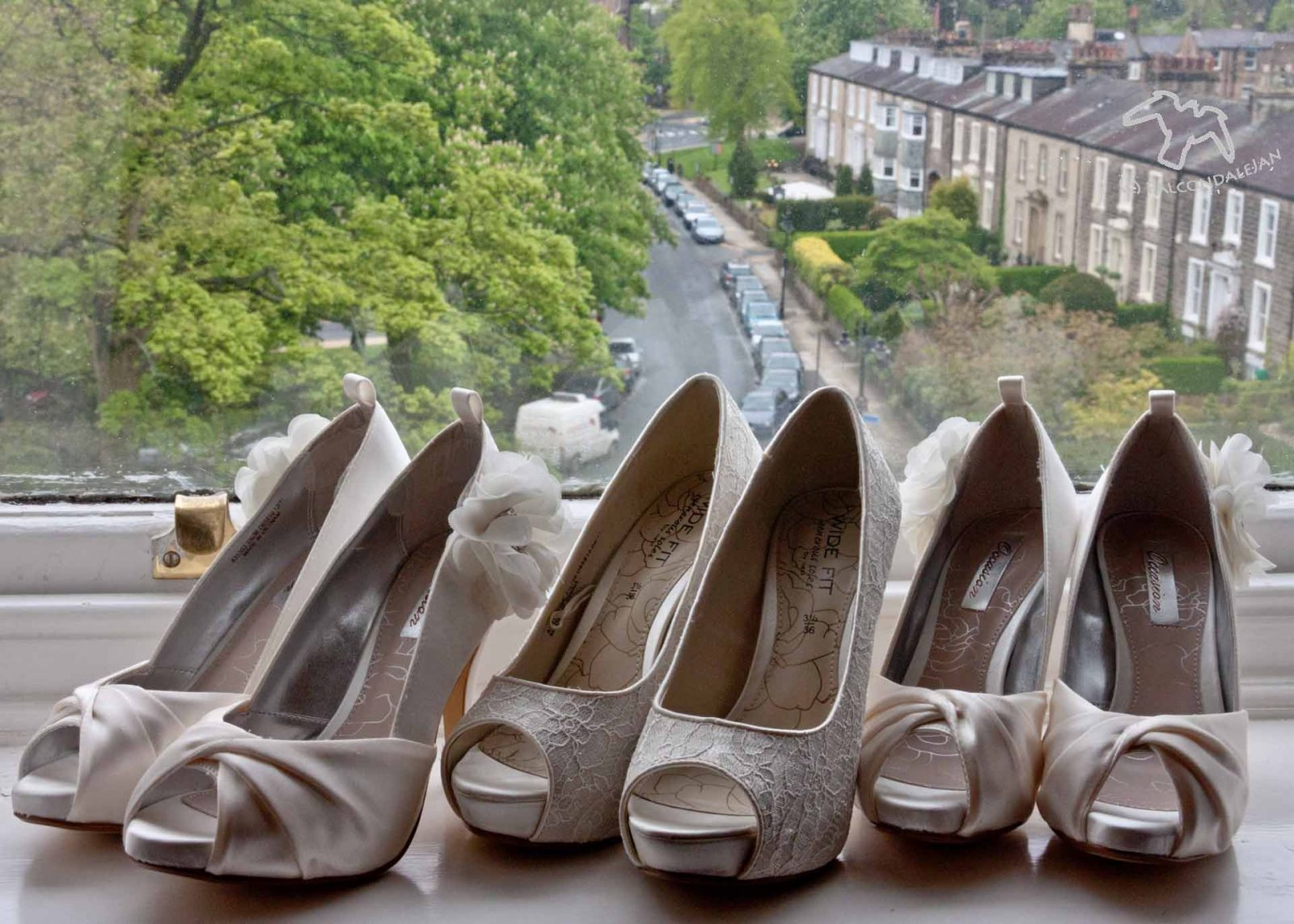 Photographing Weddings as a Second Shooter - How it Worked for Me on Falcondale Life blog. Bride and bridesmaid shoes on a windowsill. The second shooter at weddings helps the main photographer by getting extra photos. It's a less pressured, more flexible role, finding alternative shots.