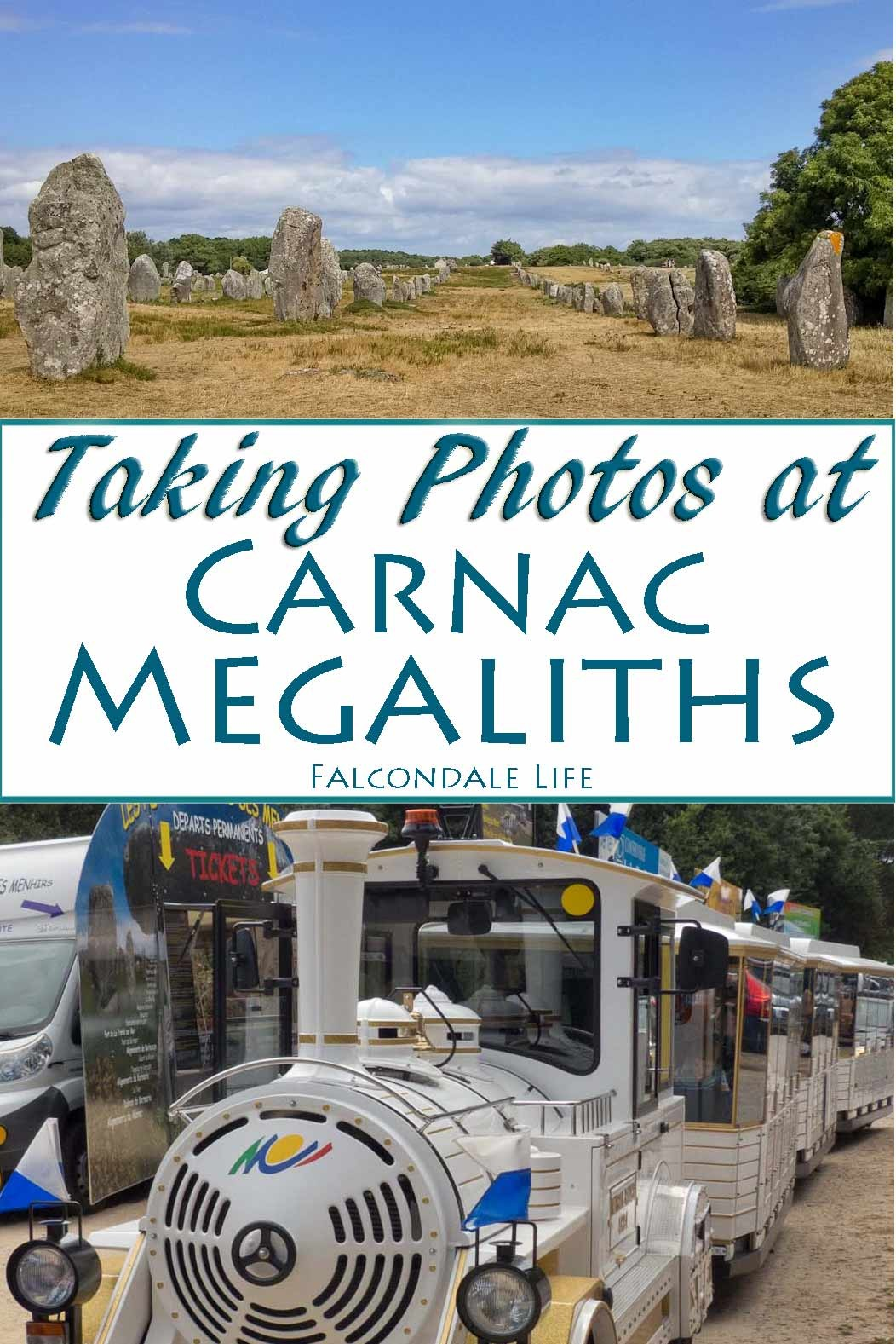 Four mistakes to avoid when taking photos at Carnac Megaliths, Brittany. We couldn't get good shots from the roadtrain tour and it was difficult on foot too. Photography and composition tips on Falcondale Life blog.