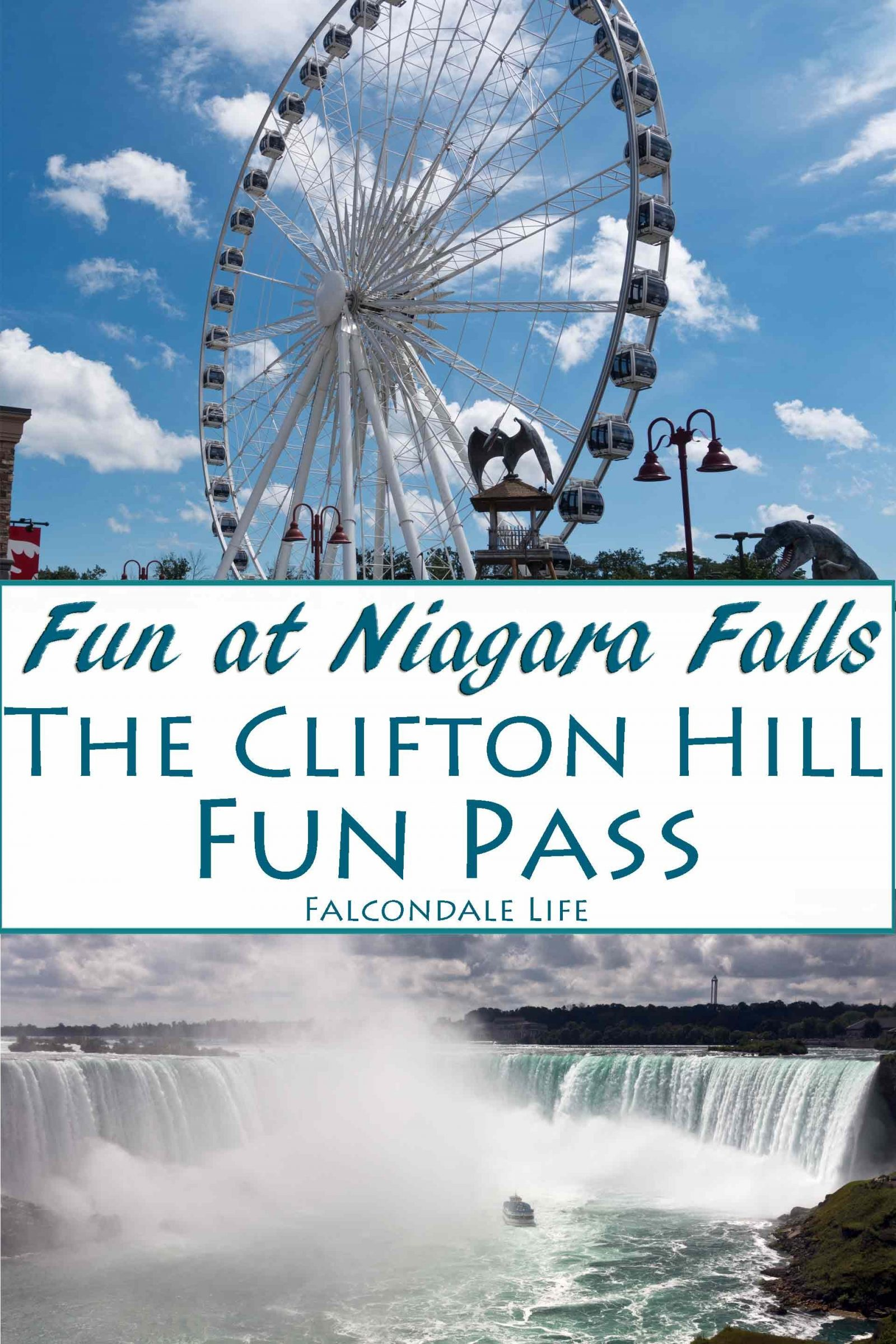 All the fun of the falls with the Clifton Hill Fun Pass, Niagara, Canada on Falcondale Life blog. A visit to Niagara Falls is an all-round resort experience with the Clifton Hill Fun Pass. Six fun attractions in one value ticket. Full review and photos. The Niagara Sky Wheel gives a magnificent view of Niagara Falls. Included in the Clifton Hill Fun Pass Ticket along with five other attractions in one great value ticket.