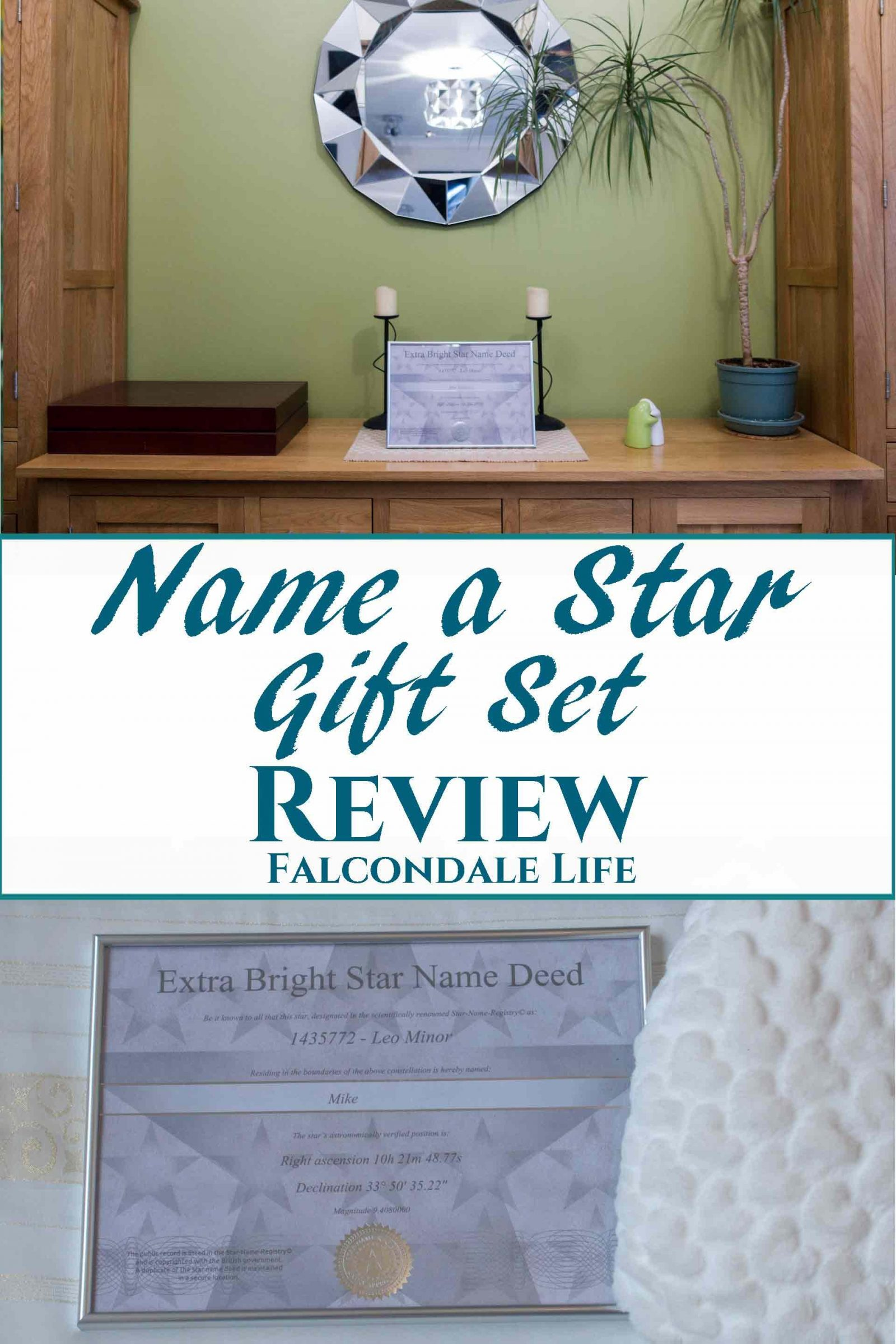 Name a Star Gift Set Review on Falcondale Life blog. Name a star for someone you love with the Star Name Registry. Review of the Bright Star Gift set with framed certificate, ideal gift for astronomy fans.