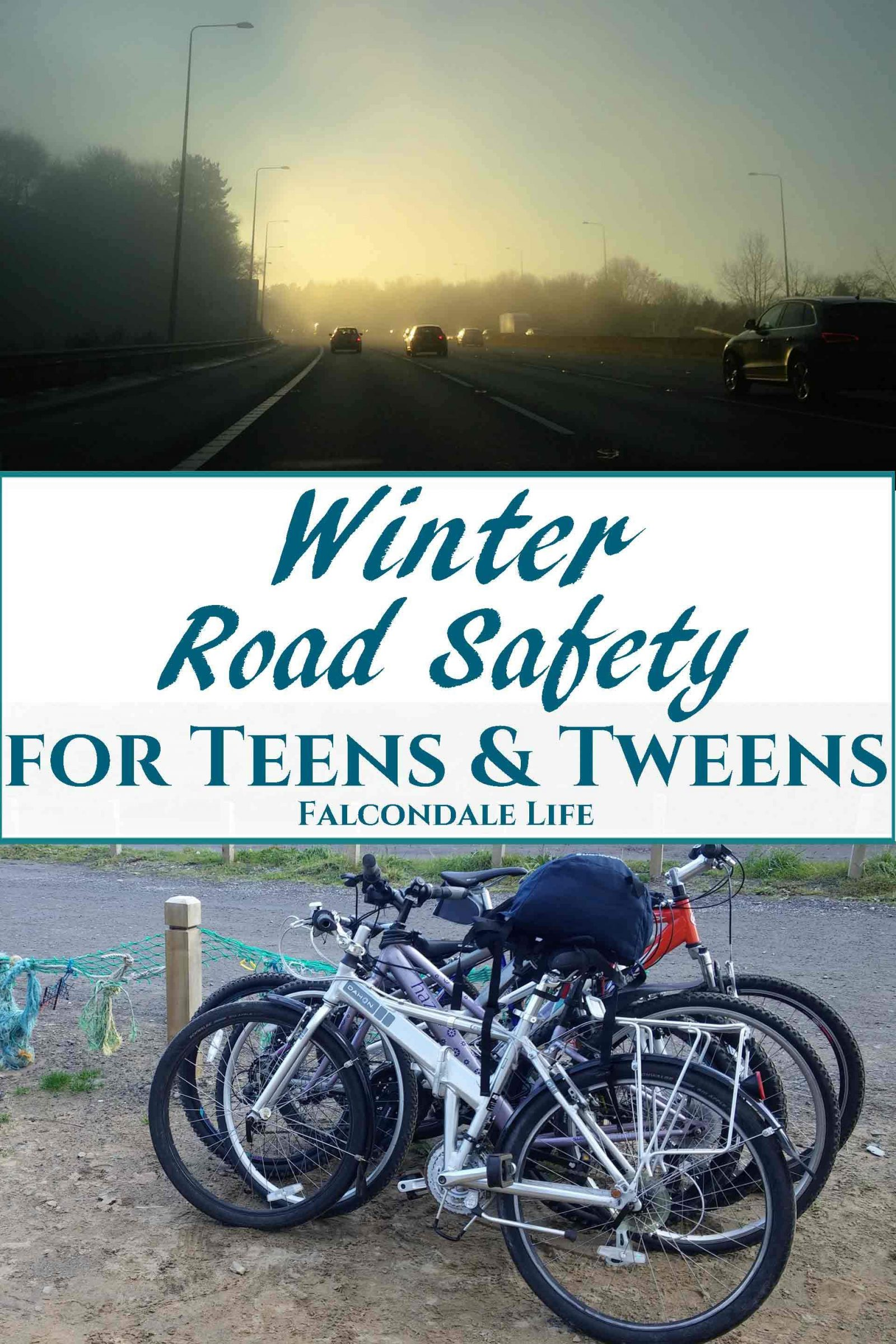 Winter Road Safety for Tween and Teenage Children on Falcondale Life blog. What advice do I give my tween and teenage children about winter road safety? Useful tips for them as pedestrians, cyclists and car passengers. Winter motorway driving, mist and glare. Cycle safety and car passengers.