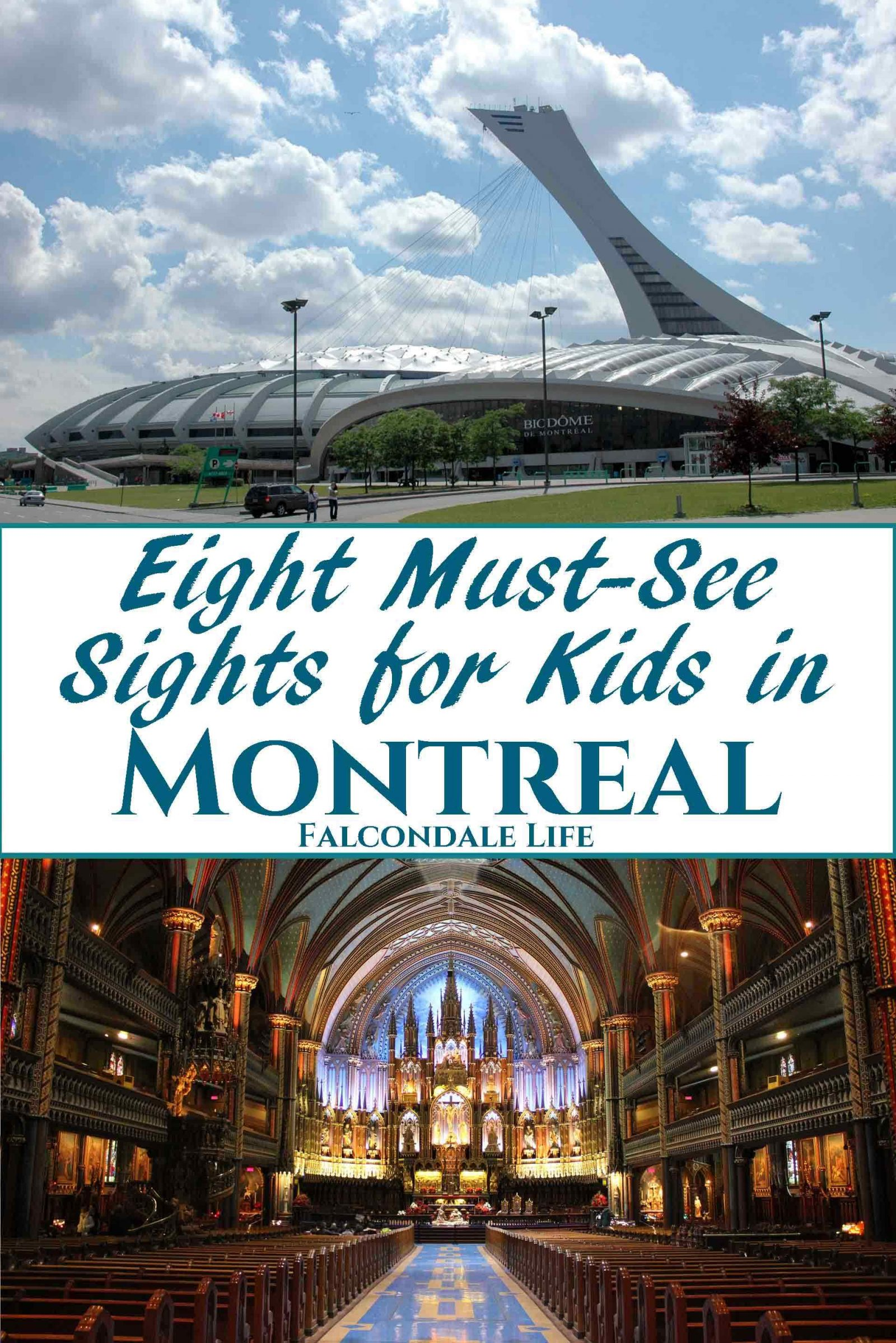 Eight must see sights for kids in Montreal on Falcondale Life blog. Guest post by Samara from TinyFry. Biodome Montreal and Notre Dame. There's lots for kids of all ages in Montreal, it's a great family travel destination in Canada.
