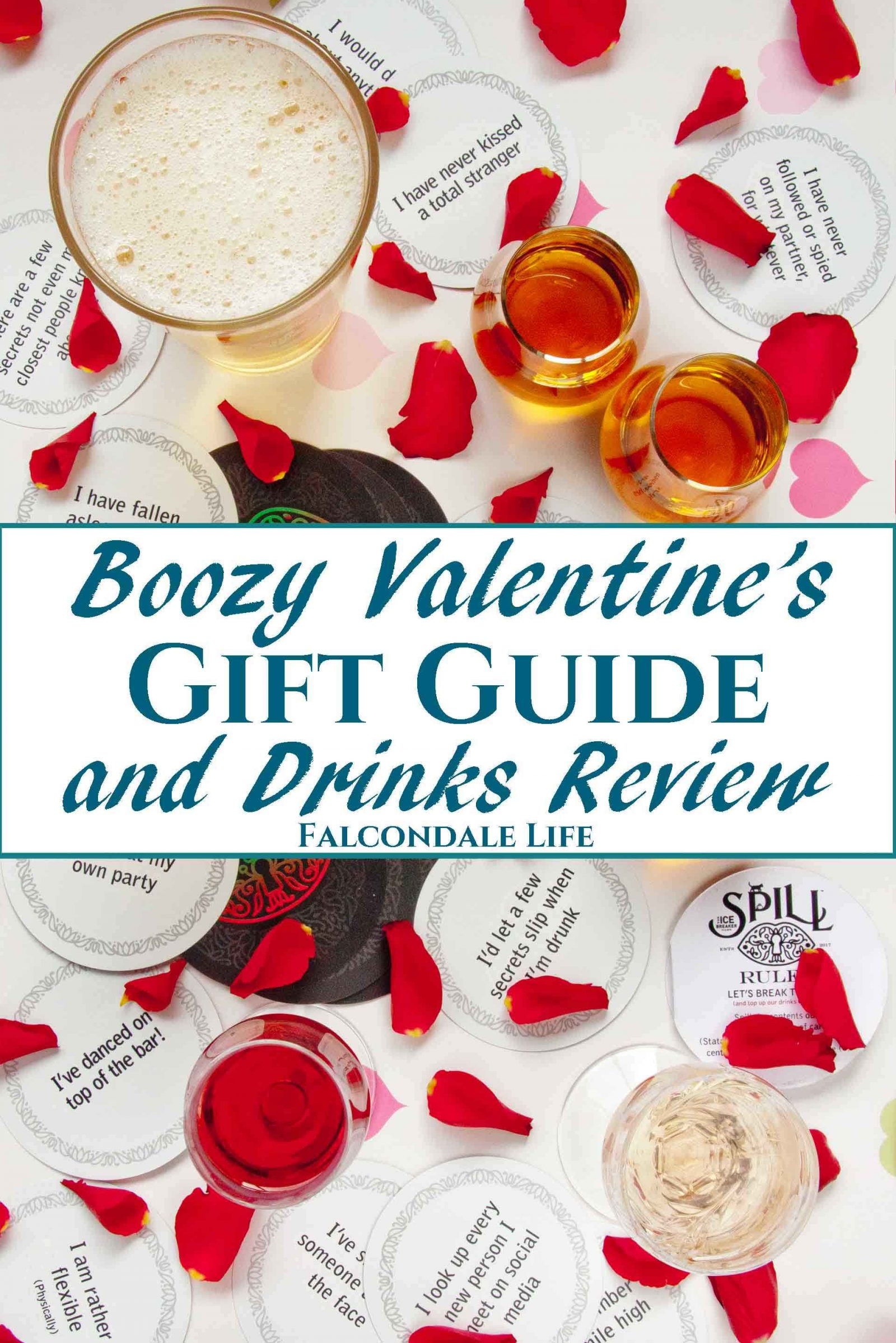 Flatlay of drinks in glasses, drinking game cards, rose petals and hearts. Boozy Valentine's Gift Guide and Drinks Review on Falcondale Life blog. Unusual alcohol and gifts for drinkers on Valentine's day. Get something for him or her which is more interesting that just chocolate and wine. On test: Liqueurs, whisky, brewing kit, drinking game. Boozy gifts reviewed by FalcondaleJan.