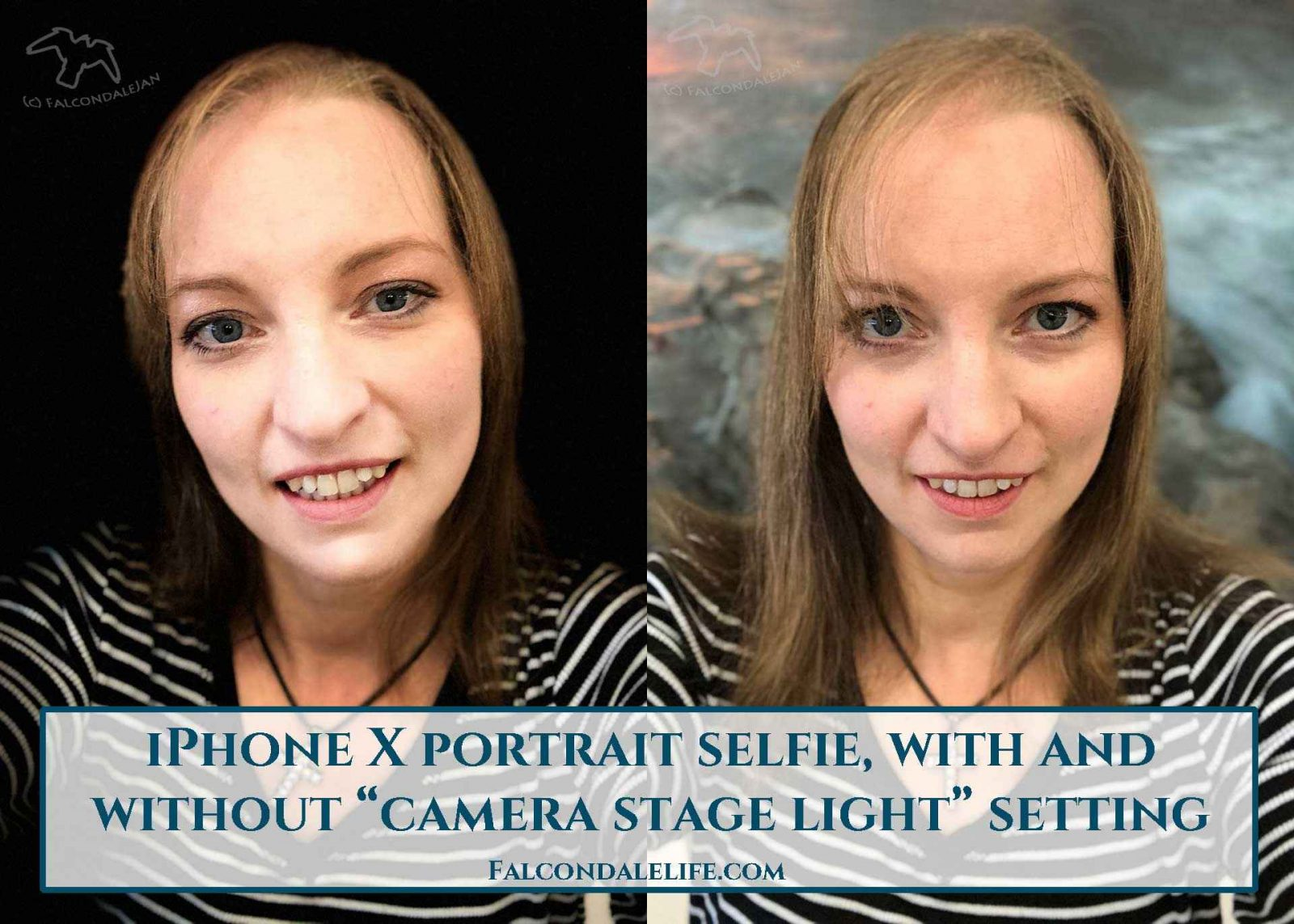 IPhone X Portrait selfie with and without camera stage light setting on Falcondale Life blog. The new things about iPhone with the iPhone X are mainly improved selfie functions. A detailed look at Apple's iPhone X's Face ID recognition screen unlock, animojis, no more home button and portrait lighting. A very honest review of this flagship smartphone launch with photography and camera on test by FalcondaleJan.