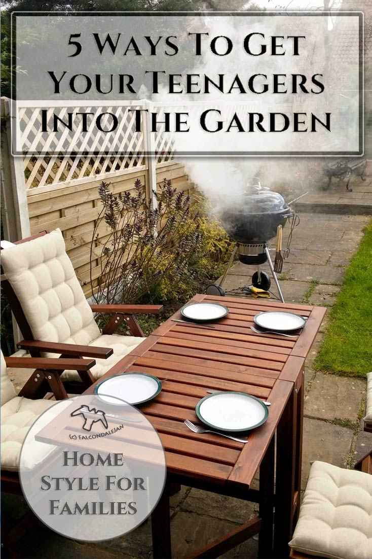 Five ways to get your teenagers into the Garden on Falcondale Life blog. How to get tweens and teenagers out of the house to enjoy the garden? Here a 5 ideas to persuade them outside to enjoy the fresh air. Get your teenagers into the garden with these ideas from Falcondalejan. Image description: Barbecue and garden table set for a meal.