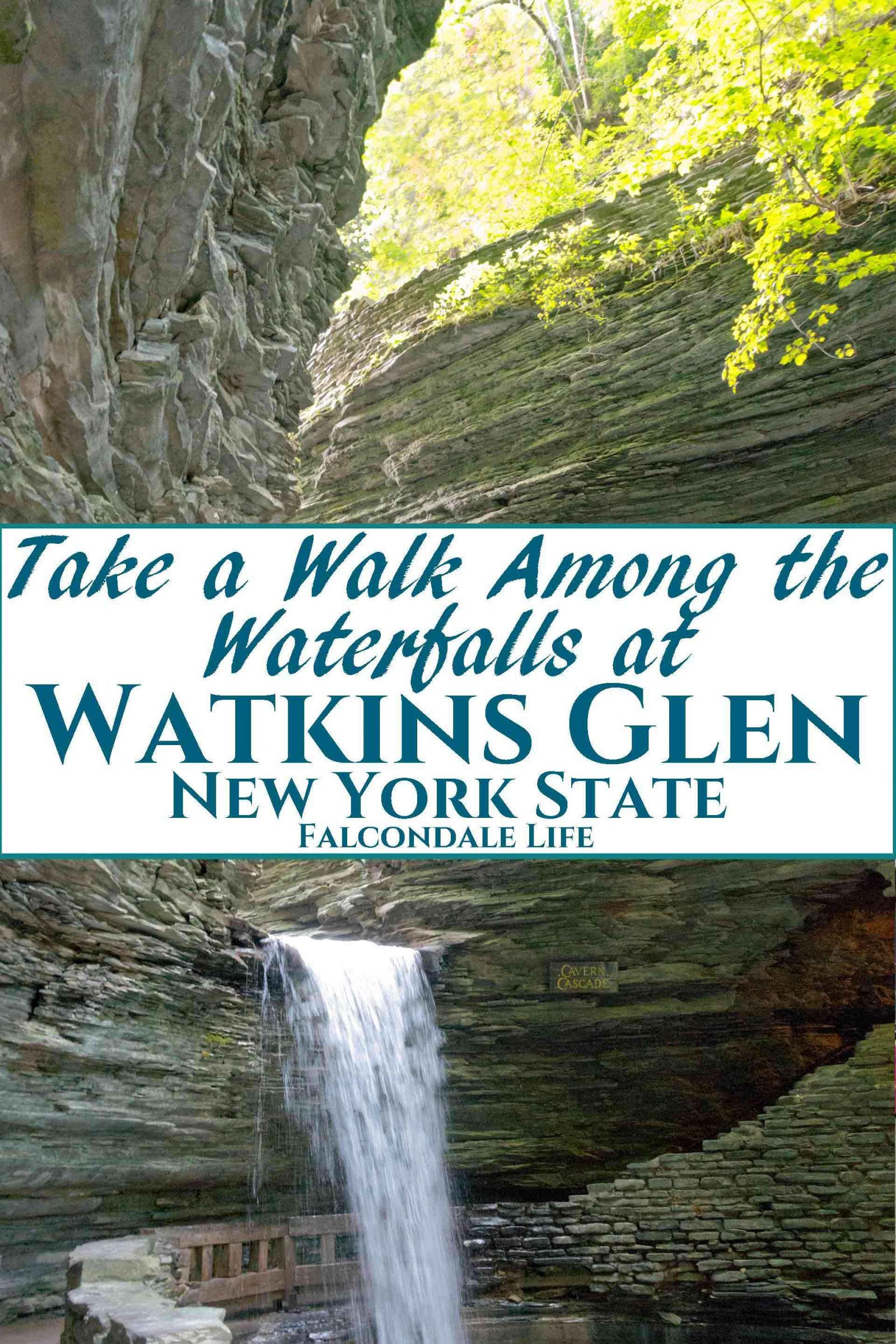 Waterfalls and beautiful river gorge. Take a walk among the waterfalls at Watkins Glen, New York State. Watkins Glen in New York State might be the ultimate waterfall walk. This beautiful river gorge has 19 waterfalls along a short hiking trail with stunning views. An easy walk for families using the shuttle bus to the top. Read these useful photography tips to capture the magical scenery.