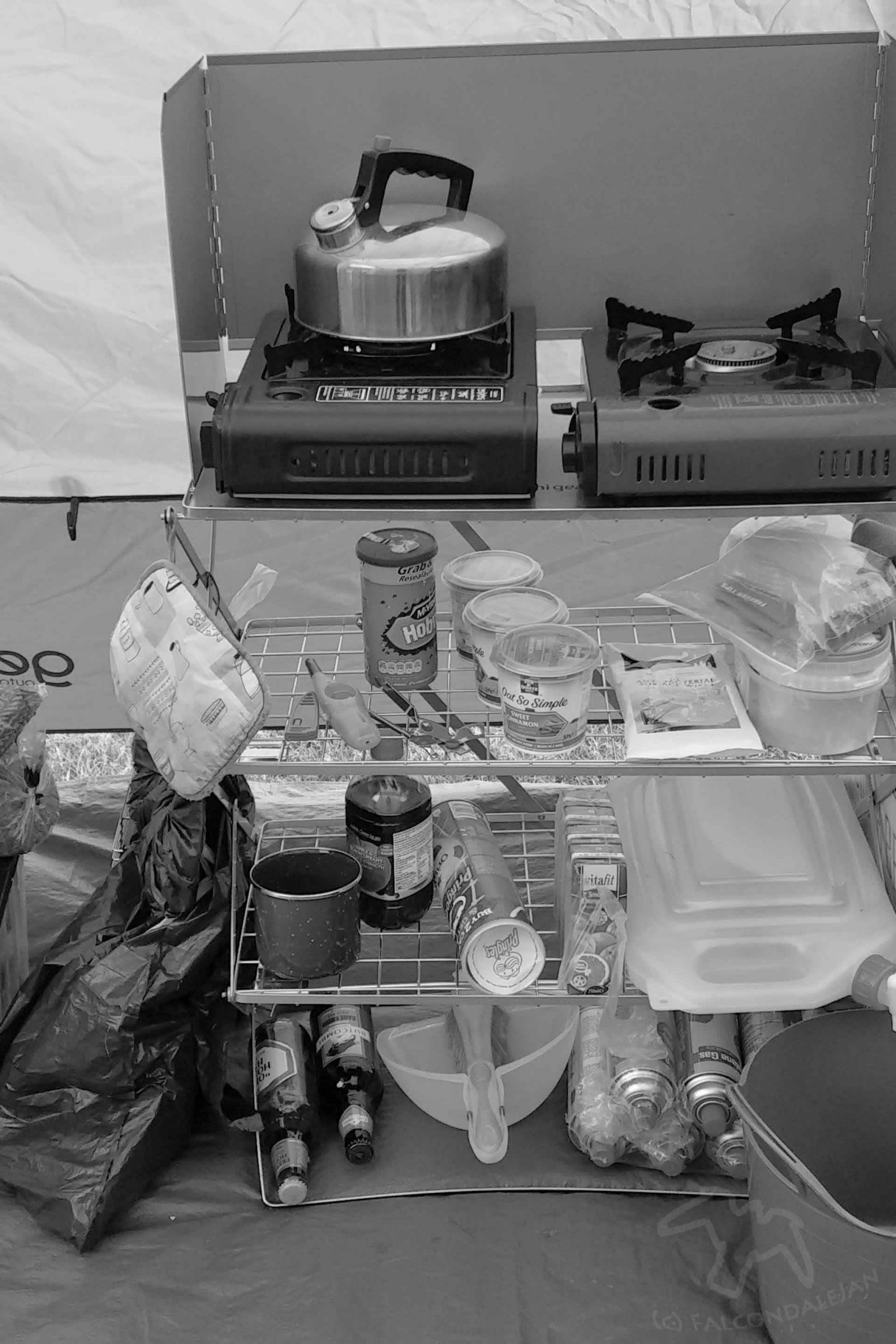 Tent kitchen on a stand. Reasons to shoot black and white part 3: remove the distraction on Falcondale Life blog. A look at why monochrome photography is a good choice for certain types of photos.