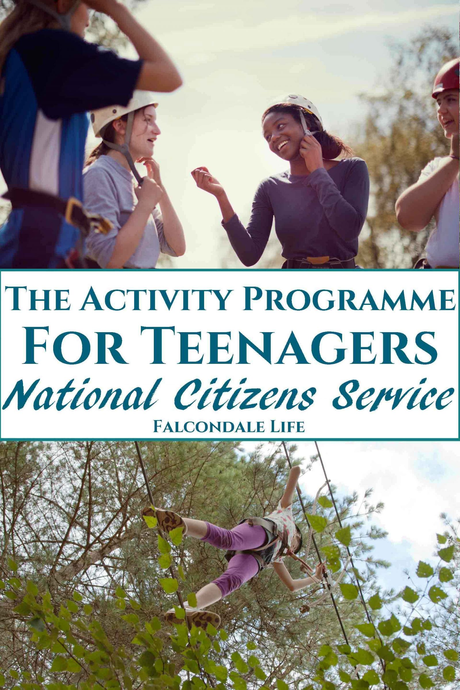 Join the Activity Programme for Teenagers: National Citizens Service on Falcondale Life blog. NCS provides a unique opportunity for teenagers to take part in a summer activity programme at the end of Year 11. The 2 to 4 week residential costs just £50 and includes outward bound activities, life skills, community action and a celebration at the end. Book now. Image description: Looking up at young person on high ropes course in the trees., young people putting on helmets and blog title.