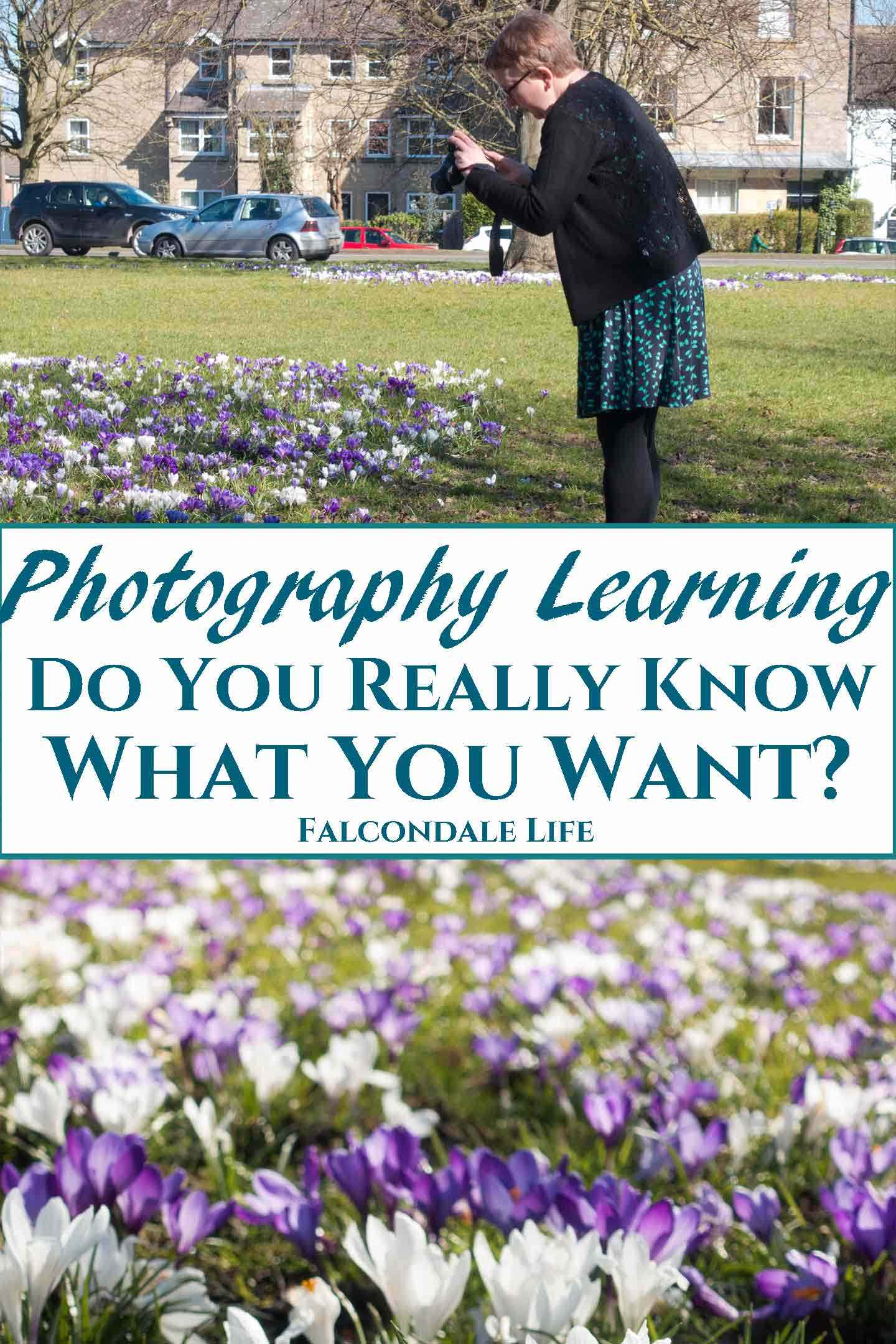 Photography Learning - Do you really know what you want? On Falcondale Life blog. I've been learning to teach photography. Your photography learning is as individual as you are. There is no rigid order in which you have to learn things. Learn to take your every day photos really well, so they have more lasting appeal. With FalcondaleJan. Image description - woman takes photos of crocuses and blog title