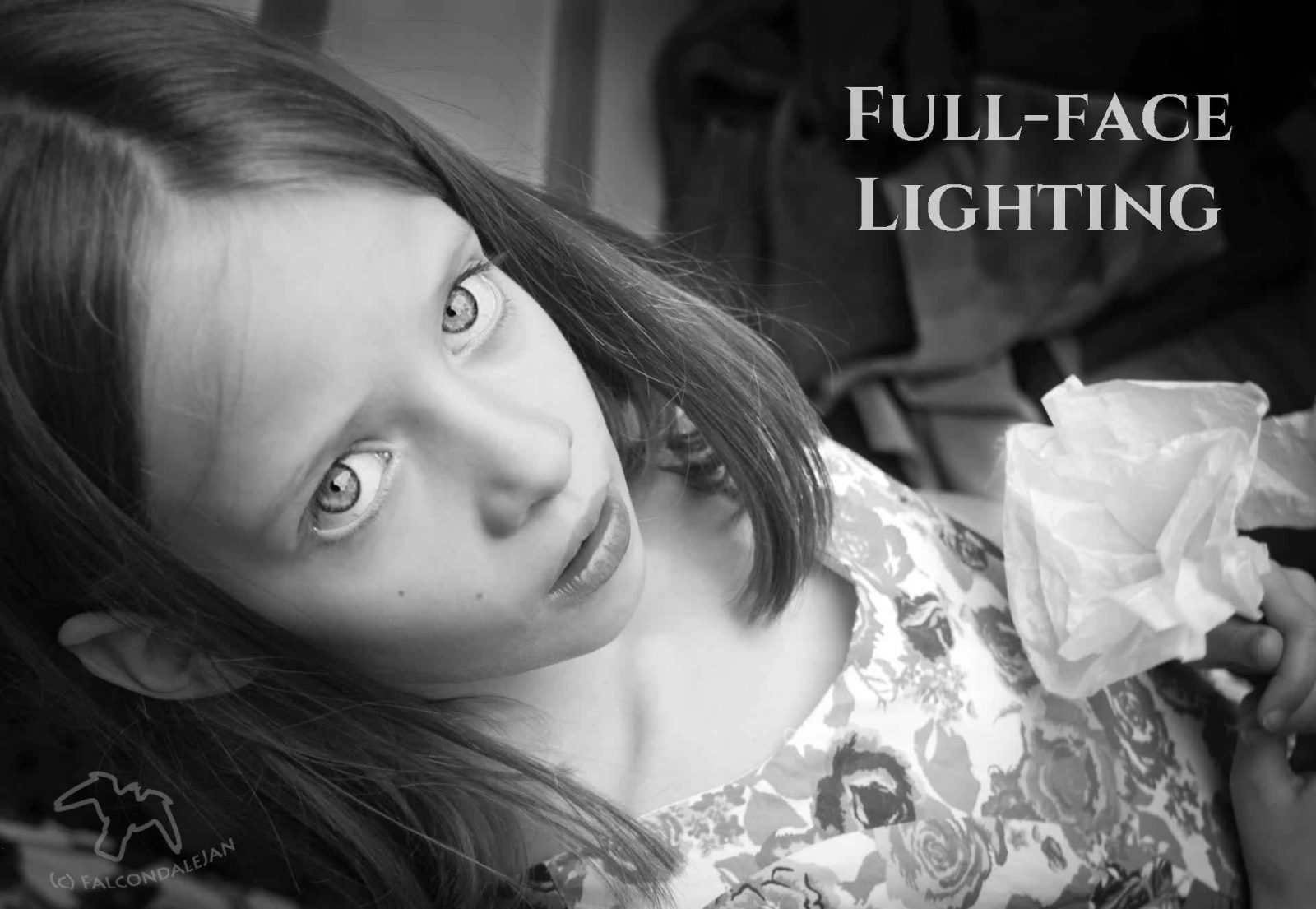 Reasons to shoot black and white part 5, Flattering portraits. More reasons to choose black and white in photography, this time to make more flattering portraits by using monochrome. Flatter skin tone and make a timeless and enduring image by switching to a black and white photo. Tips from Falcondalejan. Image description: little girl portrait, full face lighting.