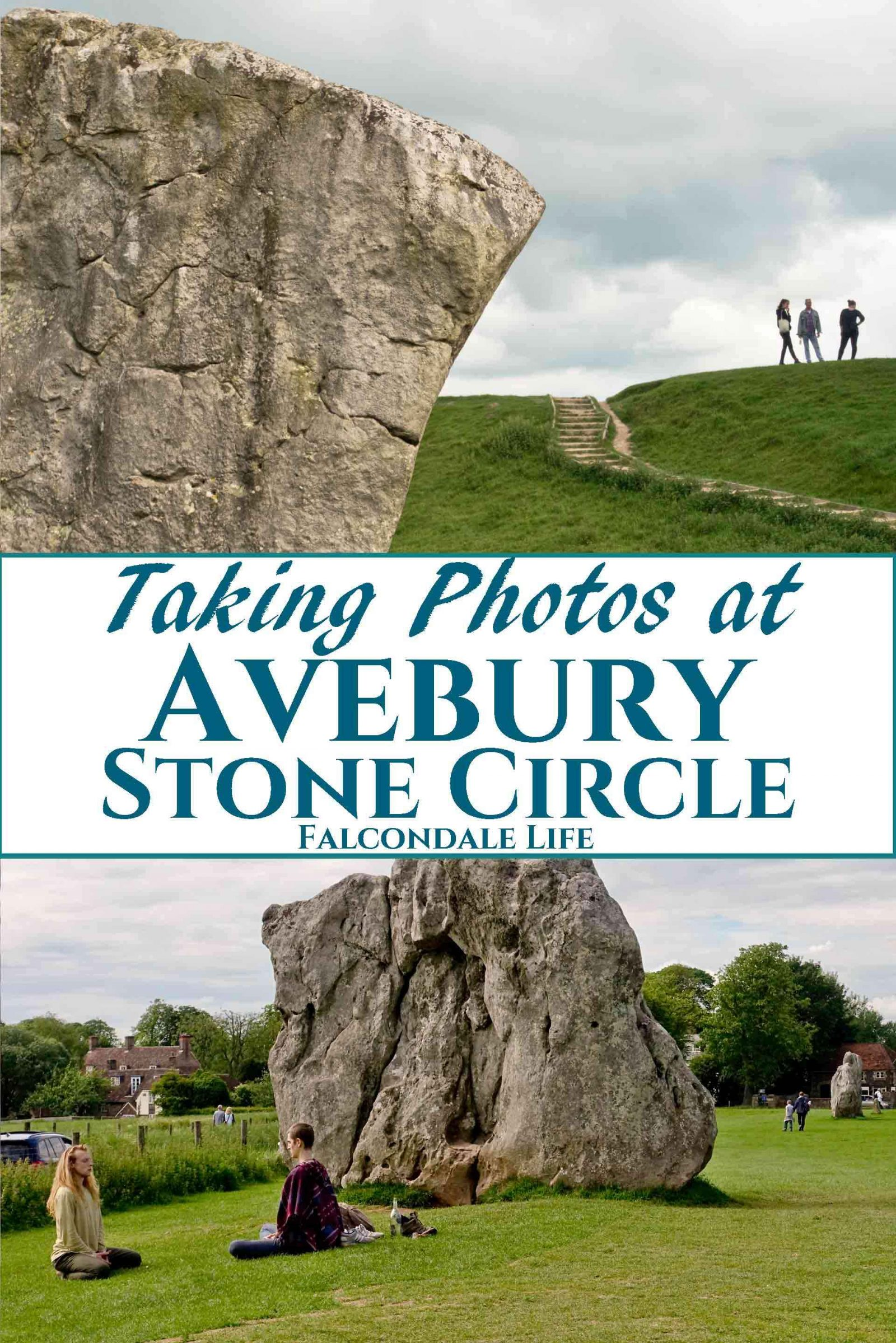 A look at how I took photos to record our visit to Avebury Stone Circle in Wiltshire. The large stoneage megaliths form an irregular henge throughout a modern village and so it can't all be viewed at once. Travel photography tips and ideas. Taking Photos at Avebury Stone Circle on Falcondale Life blog. Image description: Two photos of Avebury megaliths and blog title.