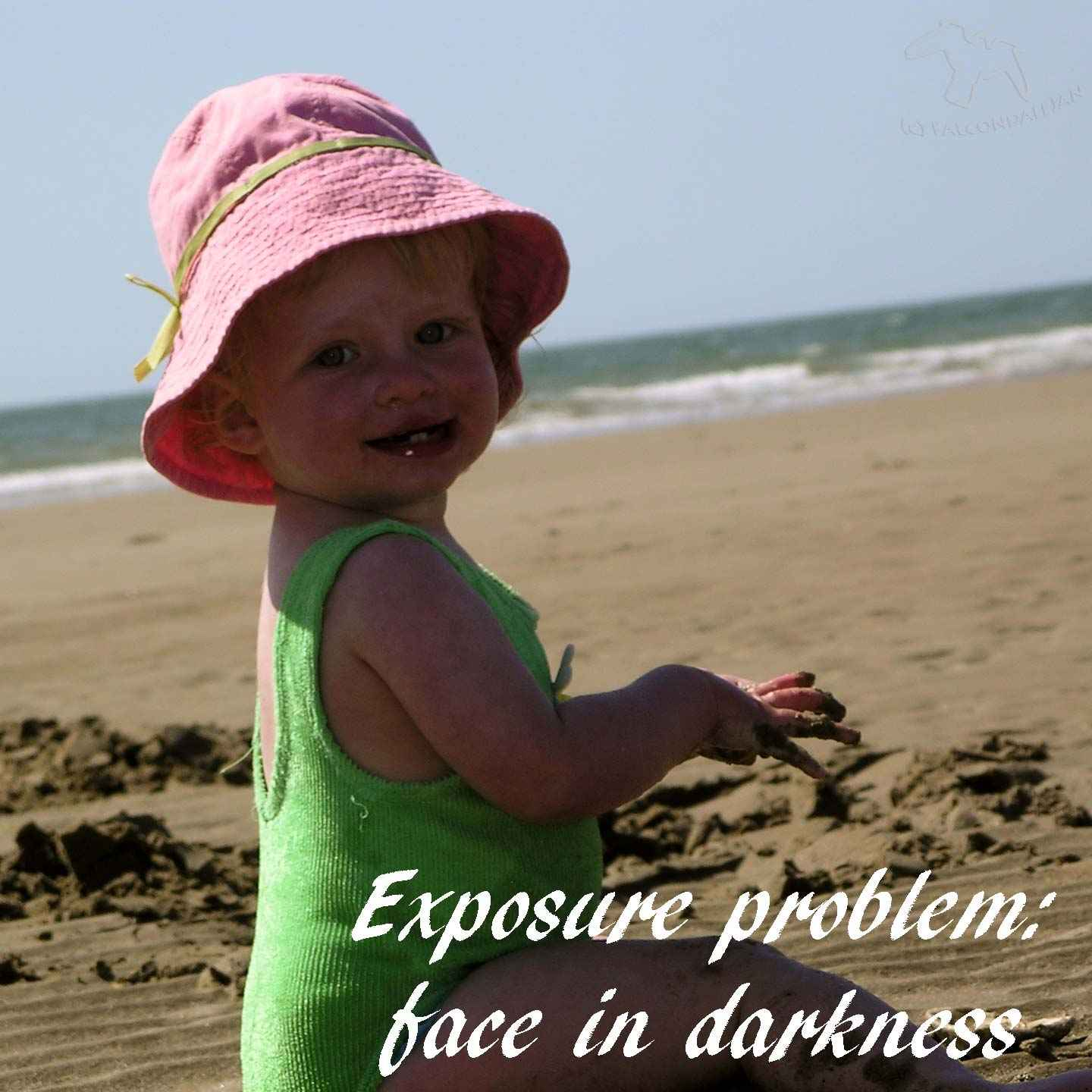 Even if you're using your camera to simply point and shoot you still need a good exposure. How do you know that you have got good exposure, and why does it matter? Tips to understand easy and difficult lighting conditions for learner photographers. Photography in Auto Mode part 5, Understanding Good Exposure on Falcondale Life blog. Image description: baby on the beach, face in shadow.