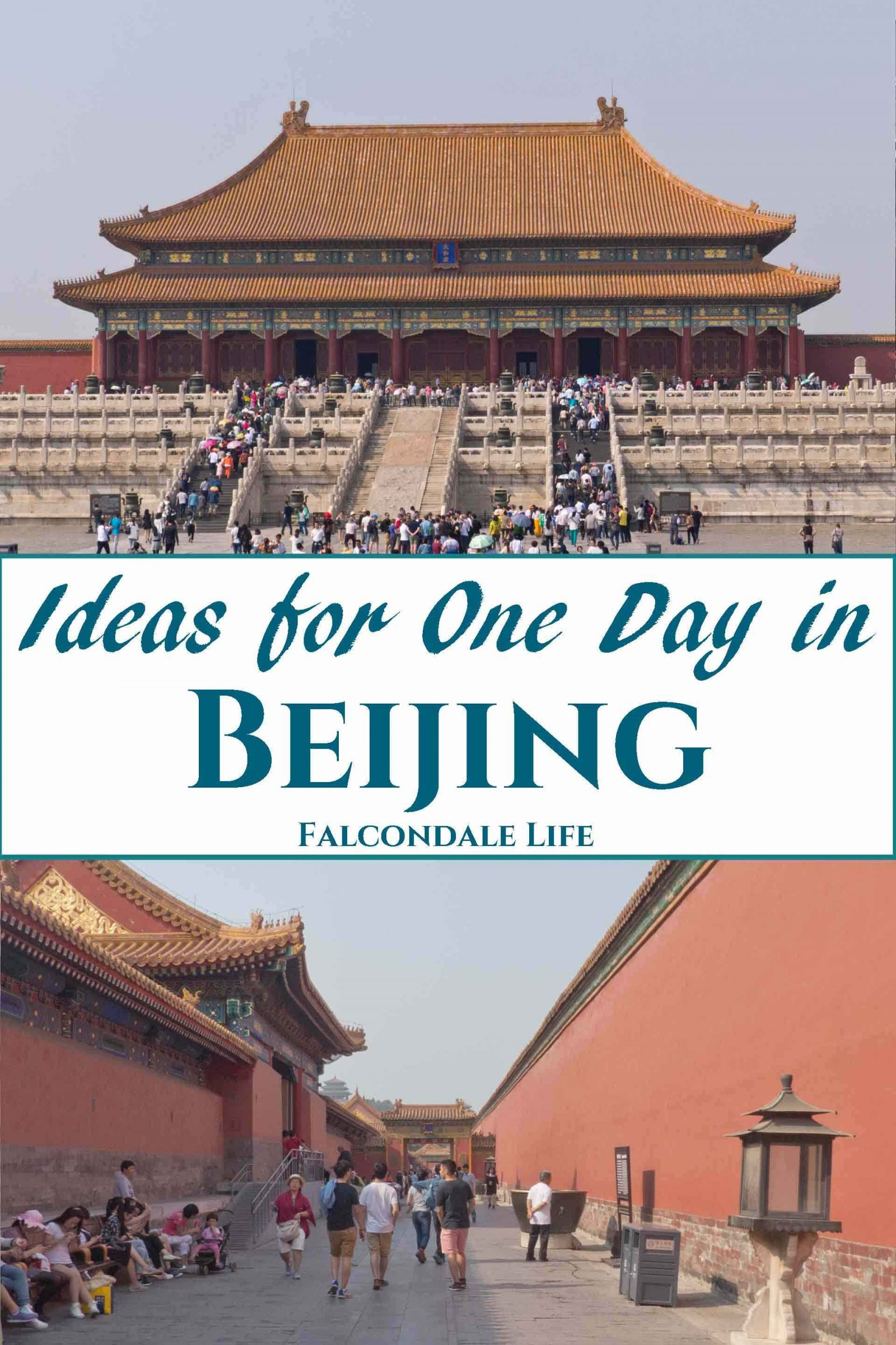 How to spend a day off from business travel in China, what can you fit in to one day in Beijing? Ideas to visit the sights, attractions and experiences with tips to take better photographs. Visit the Forbidden City. You may leave the city with a wish to come back for a proper holiday. Image description: The Forbidden City, two views and blog title.