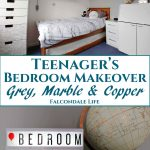 Teenager's Bedroom Makeover with grey, marble and copper on Falcondale Life blog. Makeover of teenager's bedroom with white and grey walls, marble accents on new furniture and grey marble, copper and rose gold accessories. New wardrobe, bureau desk and ideas for a more sophisticated room style. Product list included. Image description: bedroom in grey and white with marble and copper, copper globe, word light box and blog title.