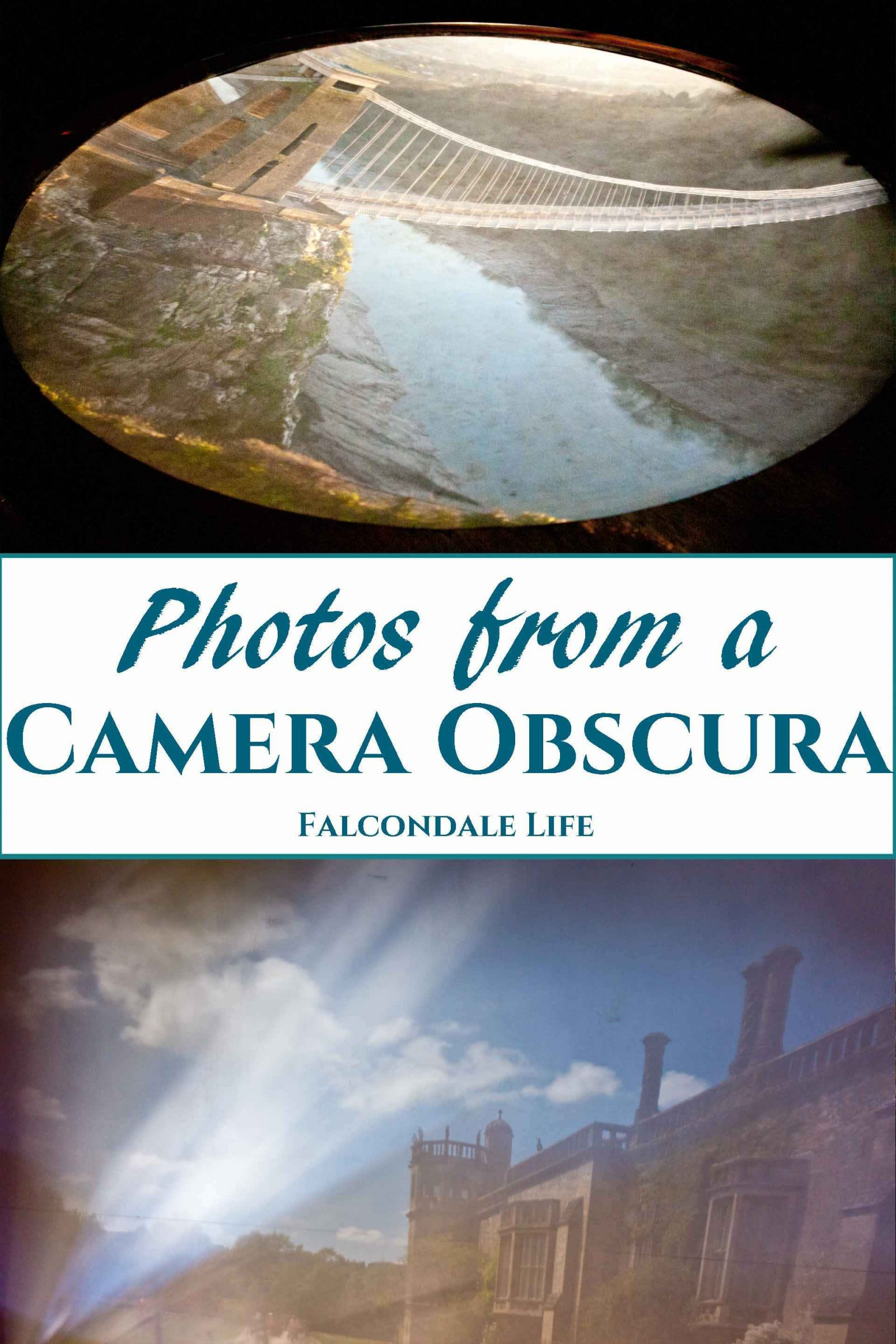 A visit to a camera obscura at Bristol or Lacock is fun to do as a family. How it works, what you will see and tips for trying to take photos of the views. Scientific and cultural interest for families on a UK day out. Photos from a Camera Obscura on Falcondale Life blog. Image description: Clifton suspension bridge and Lacock Abbey seen through a camera obscura plus blog title.