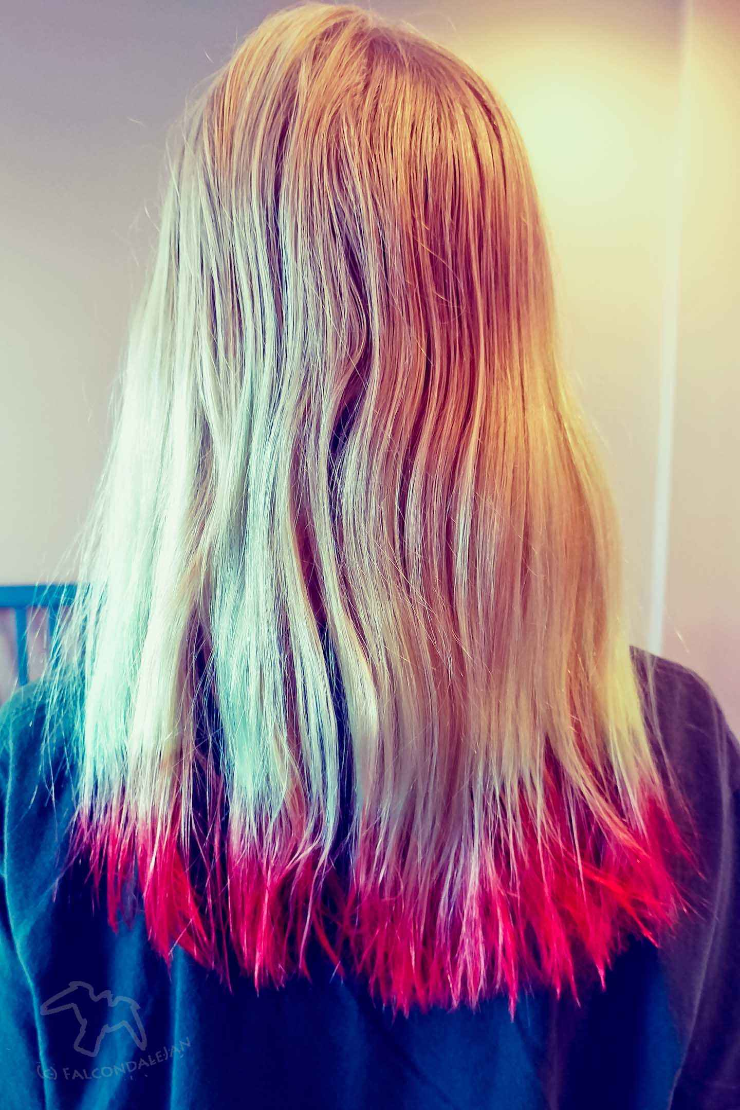 Is it safe to dye children's hair, and should parents agree to it? When your teen or tween wants hair dye here are points about safety and school rules. Things to consider when your teen or tween wants hair dye on Falcondale Life blog. Image description: child with dip dye hair