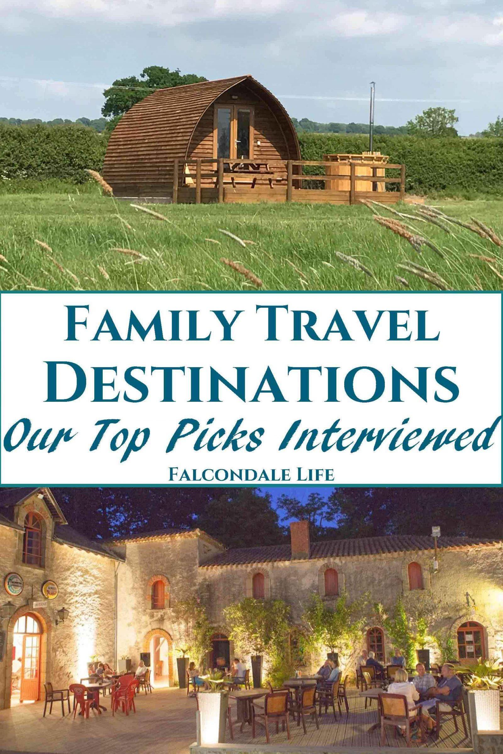 Interviews with the people behind three family travel destinations. Insights of how each family travel destination is run and their commitment to customers. Family Travel Destinations, our top picks interviewed on Falcondale Life blog. Image description: Wigwam camping pod at Evenlode and the courtyard at Chateau la Foret plus blog title.