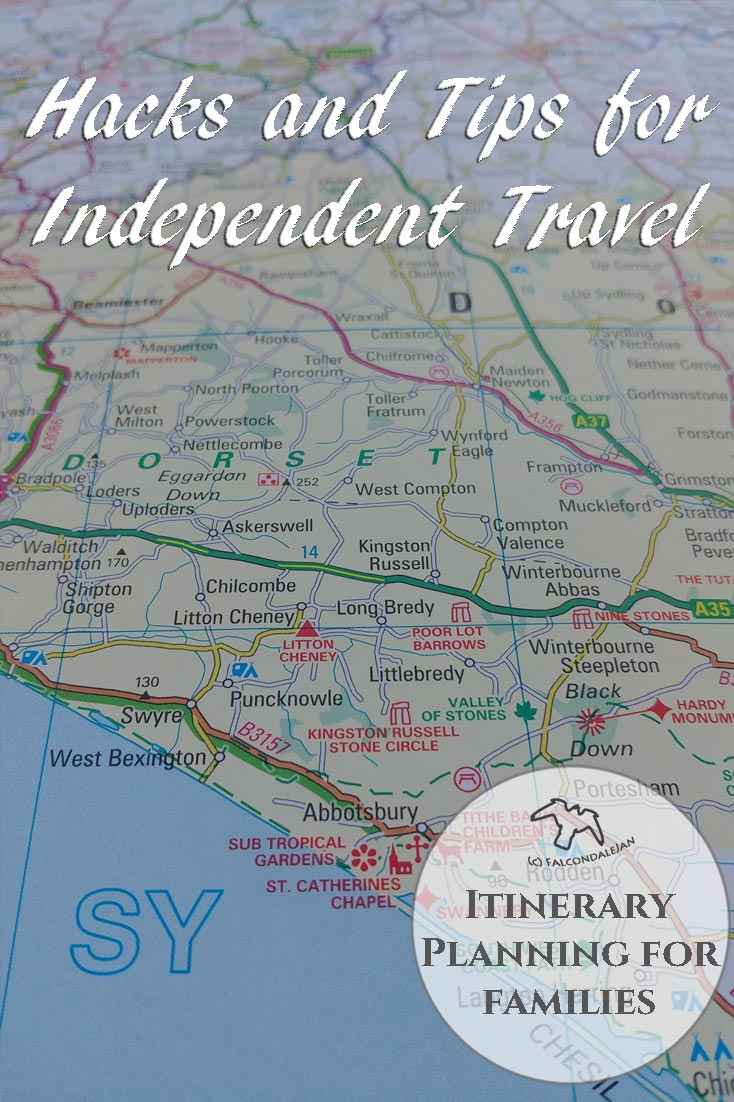 Unusual tips and hacks for independent itinerary planning for family holidays. Find ideas for road trips and self catering vacations that others may miss. Itinerary planning for families - hacks and tips for independent travel on Falcondale Life blog. Image description: a printed road atlas plus blog title