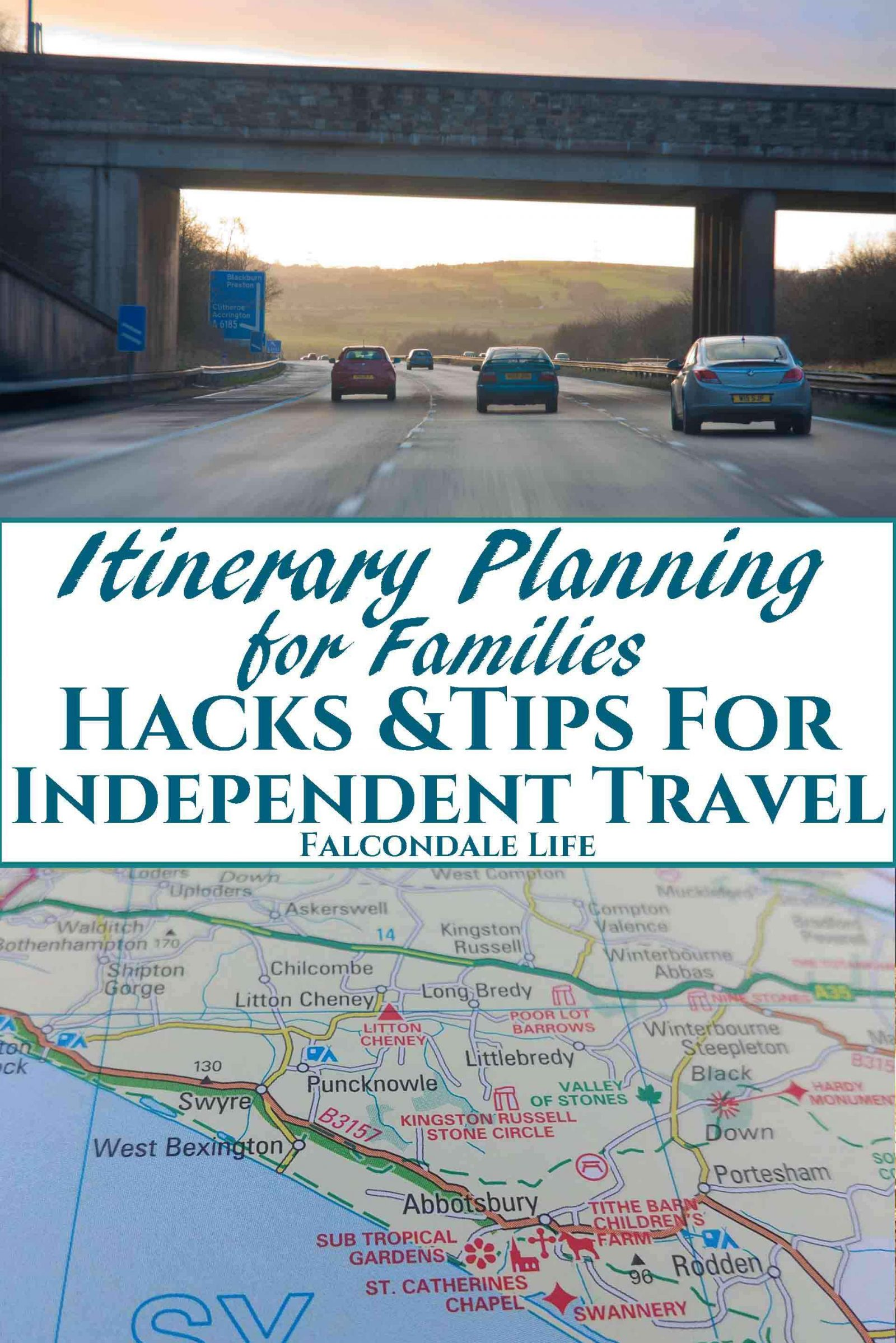 Unusual tips and hacks for independent itinerary planning for family holidays. Find ideas for road trips and self catering vacations that others may miss. Itinerary planning for families - hacks and tips for independent travel on Falcondale Life blog. Image description: cars on a motorway and a printed road atlas plus blog title
