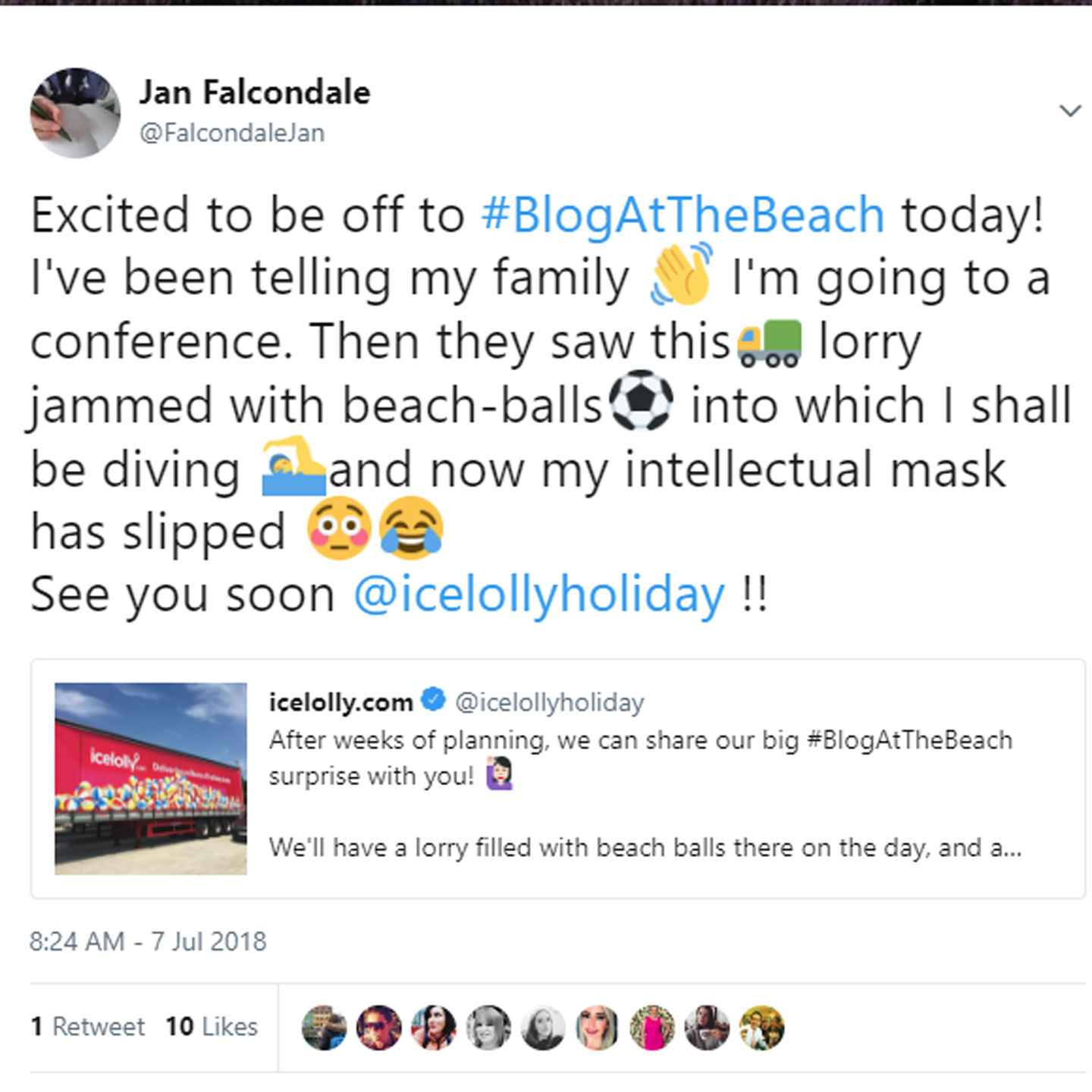 Finding out about holiday deals with Icelolly holidays at Blog at the Beach travel influencer's festival. Talks, offers, travel info plus games and food. 27 things I learned about Icelolly holidays on Falcondale Life blog. Image description: A image of a tweet about going to Blog at the Beach by Falcondalejan.