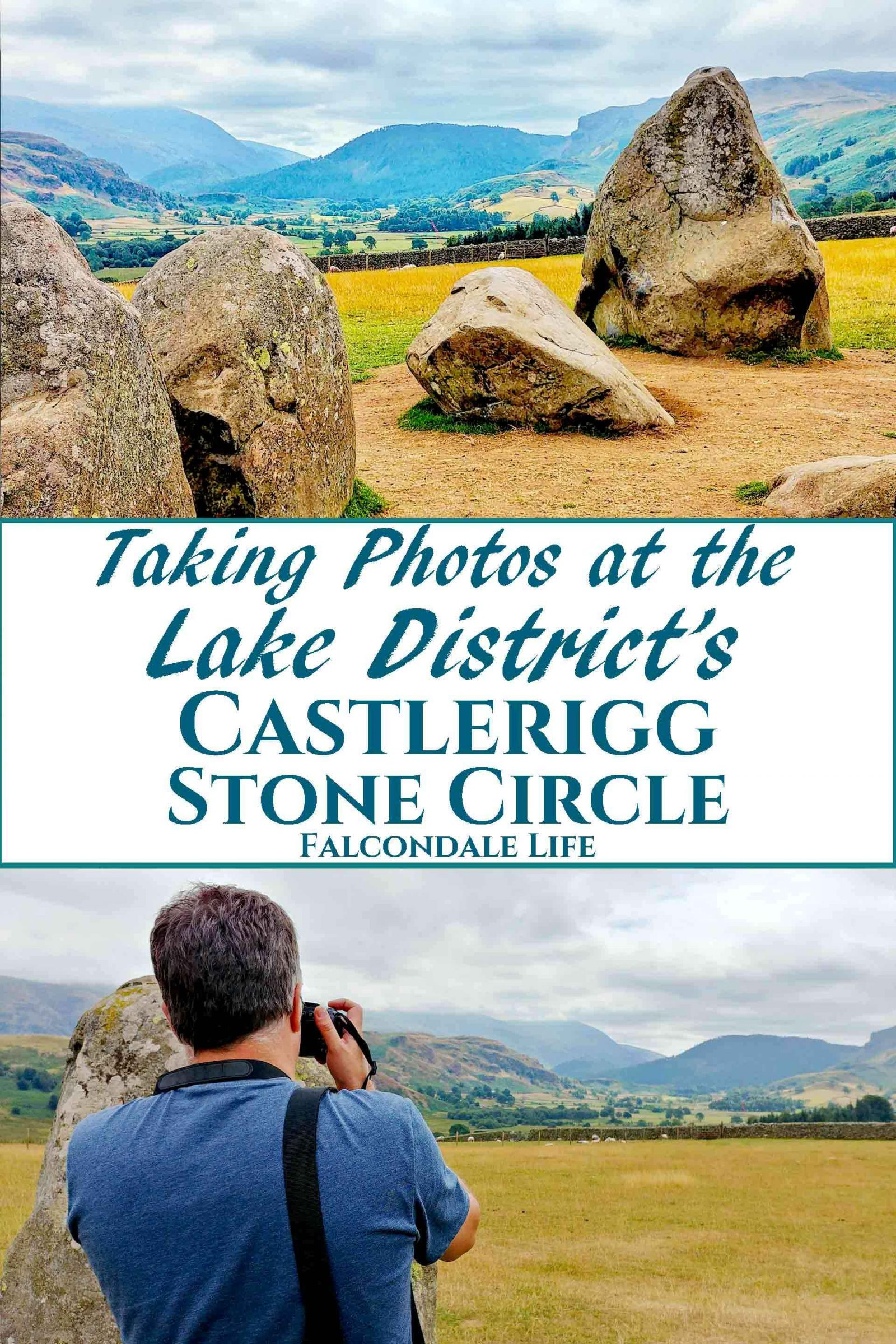 I only had my phone and 15 minutes, so how did I get some nice photos of Castlerigg Stone Circle in the Lake District? Photography tips and visitor info. Taking photos at Castlerigg Stone Circle in the Lake District on Falcondale Life blog. Image description: high contrast image of part of Castlerigg Stone Circle, the landscape beyond and a photographer.