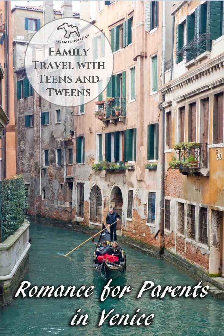 Can parents find romance in Venice with kids in tow or is it best to go without the children? Tips for Mums and Dads visiting the world's most romantic city. Photos of Venice in winter and tips on travelling with or without children. Teenagers and family travel ideas for top Italian attractions. Plan a romantic trip to Venice with kids in tow on Falcondale Life blog. Image description: Venice small canal with romantic gondola ride and blog info.