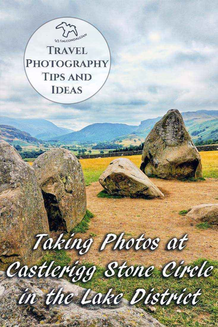I only had my phone and 15 minutes, so how did I get some nice photos of Castlerigg Stone Circle in the Lake District? Photography tips and visitor info. Taking photos at Castlerigg Stone Circle in the Lake District on Falcondale Life blog. Image description: part of Castlerigg Stone Circle and the landscape beyond.
