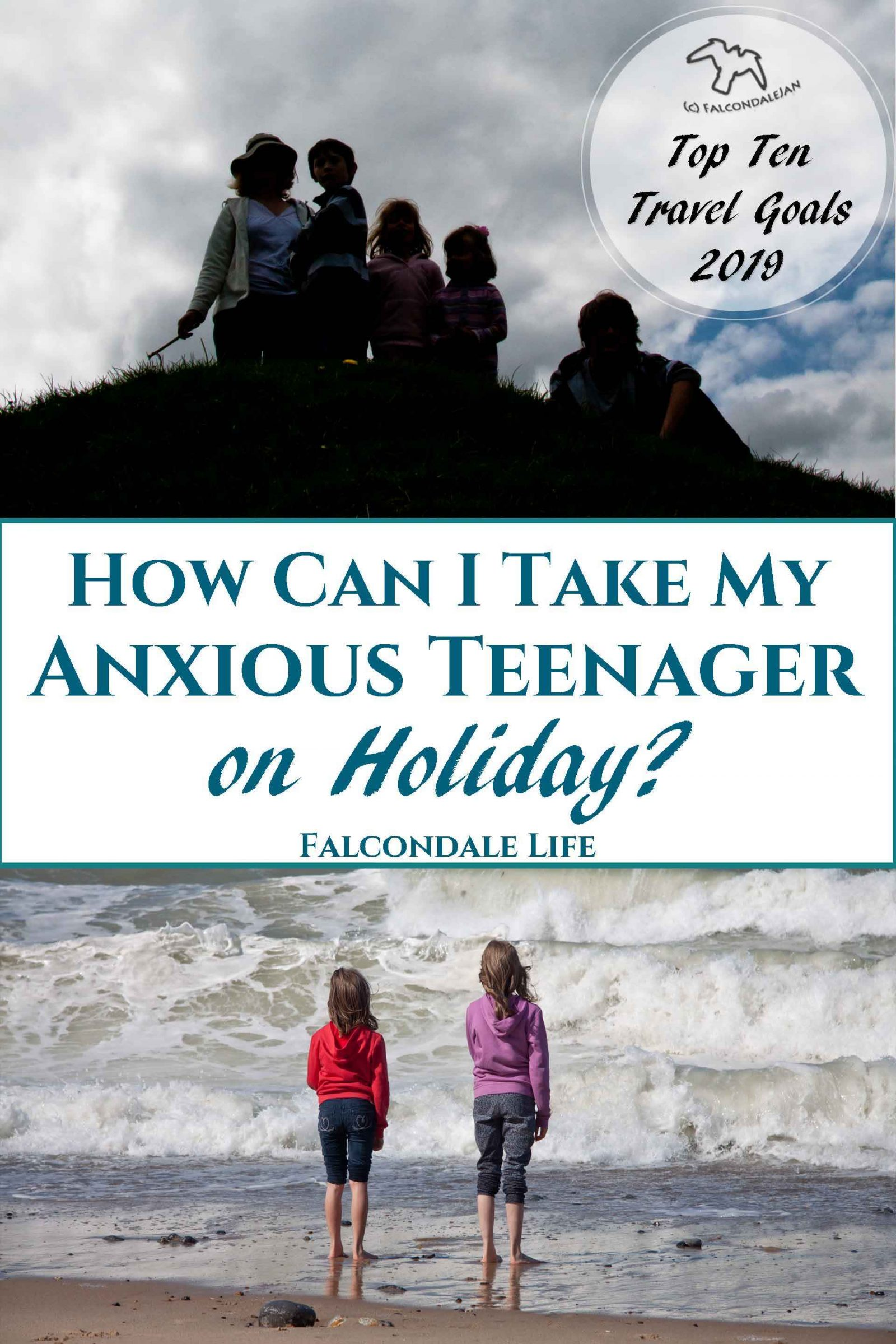 Ideas and tips for a vacation that's suitable for sensitive people. Where could we take an anxious teenager or child on holiday? Plan calmer family travel. Ideas to take a mentally ill person on a family holiday. Image description: Family in silhouette on a hill, and 2 girls in hoodies stare out at waves on the sea plus blog title.
